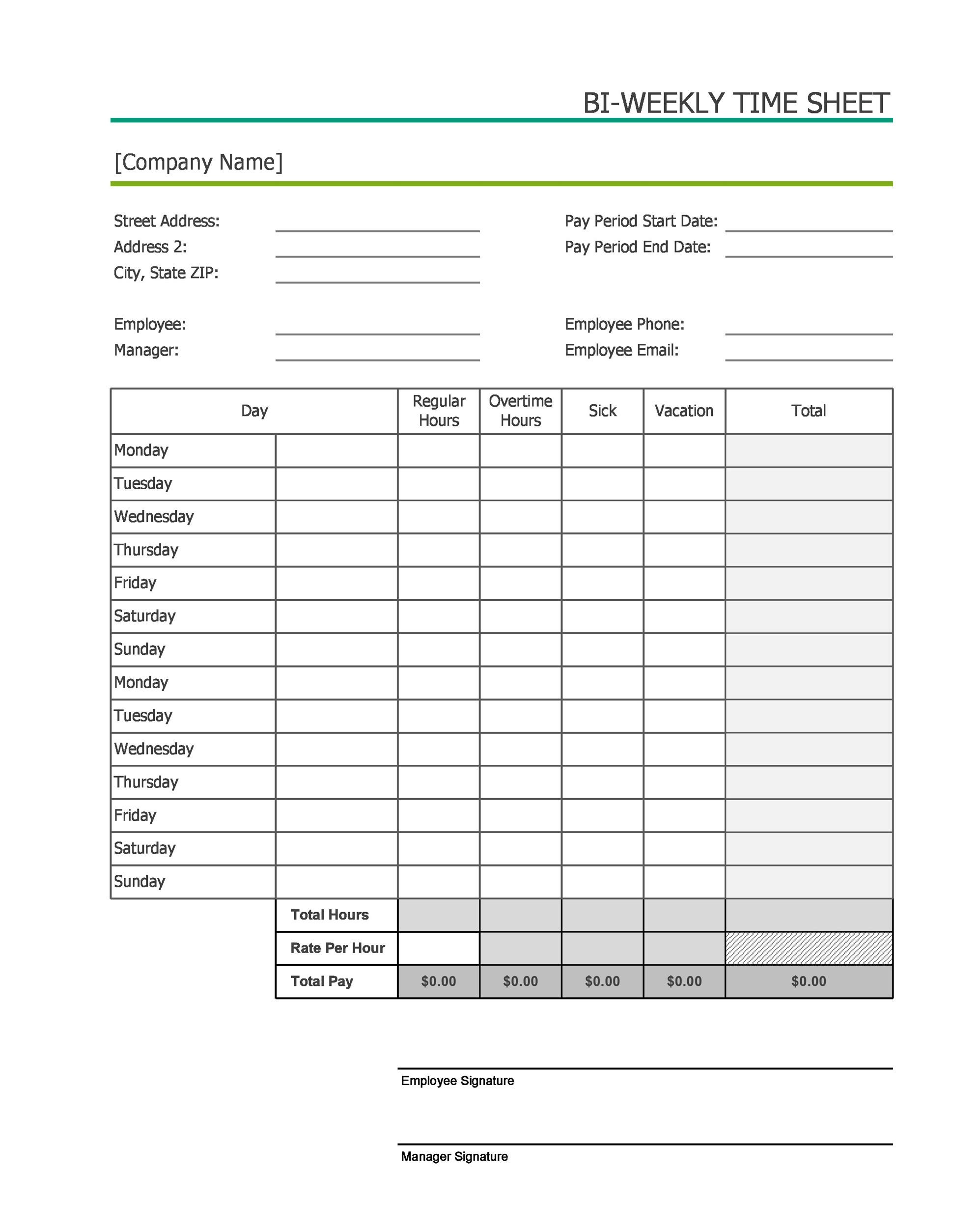Sample Biweekly Timesheet