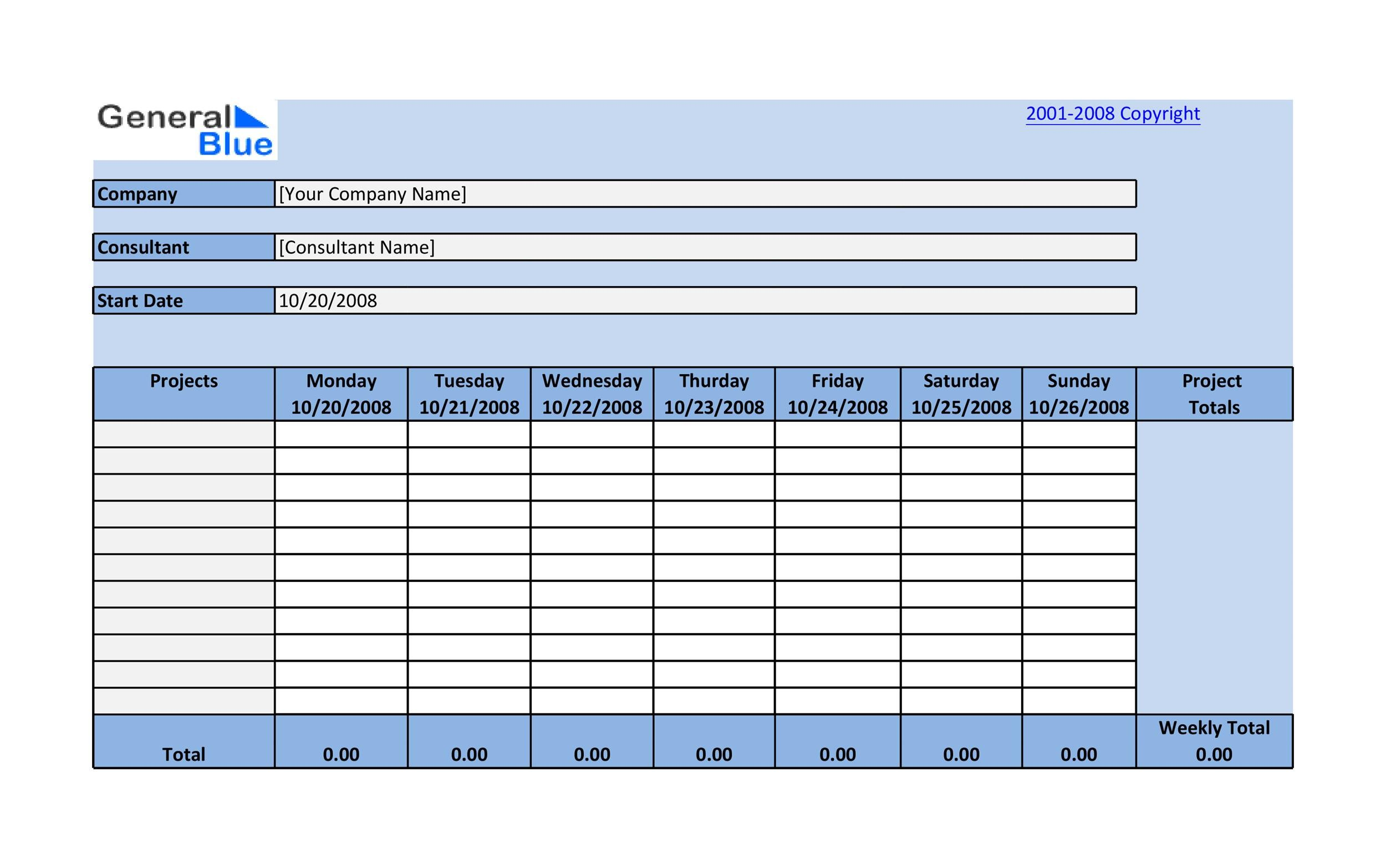 Timesheet Template 39