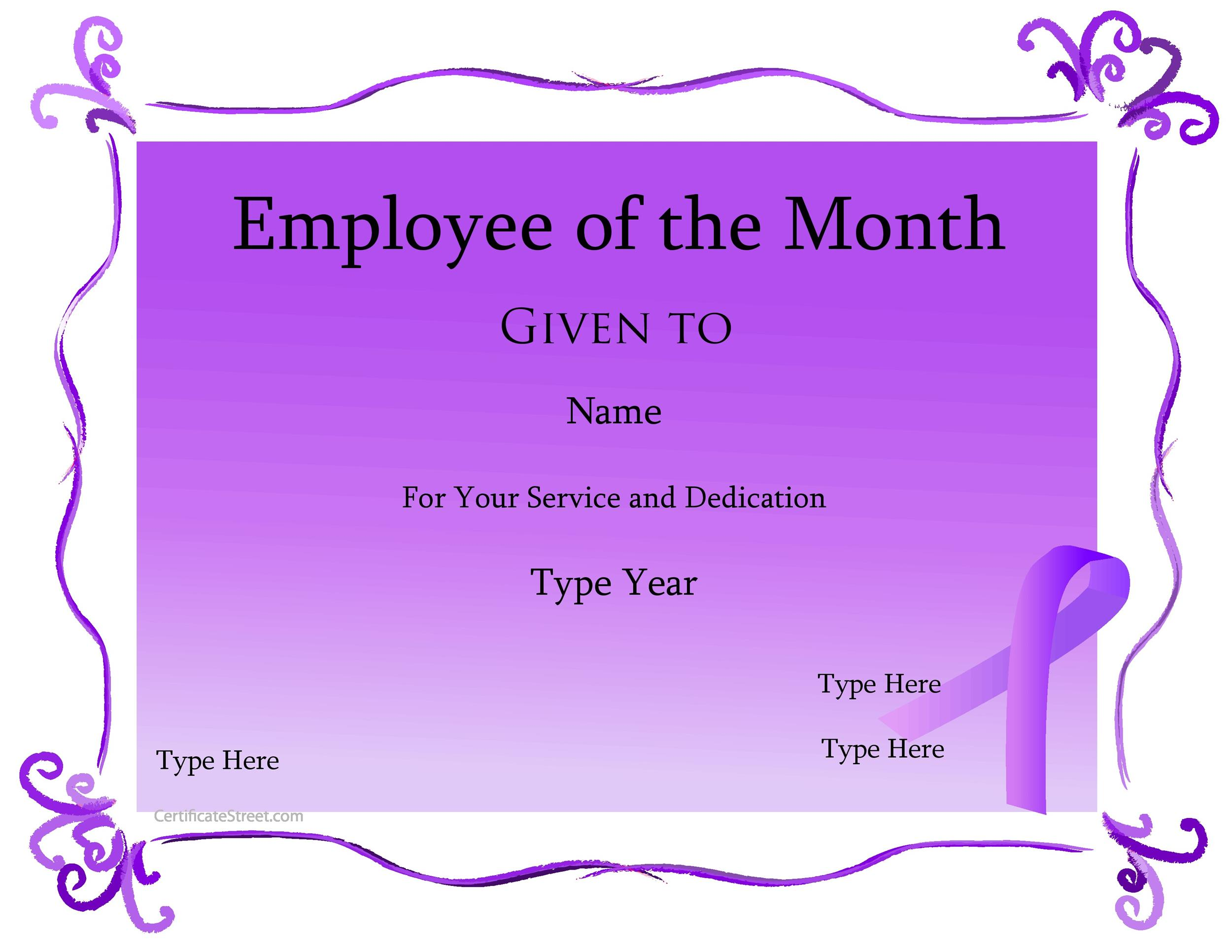 Printable Award Template 09  Free Employee Of The Month Certificate Template
