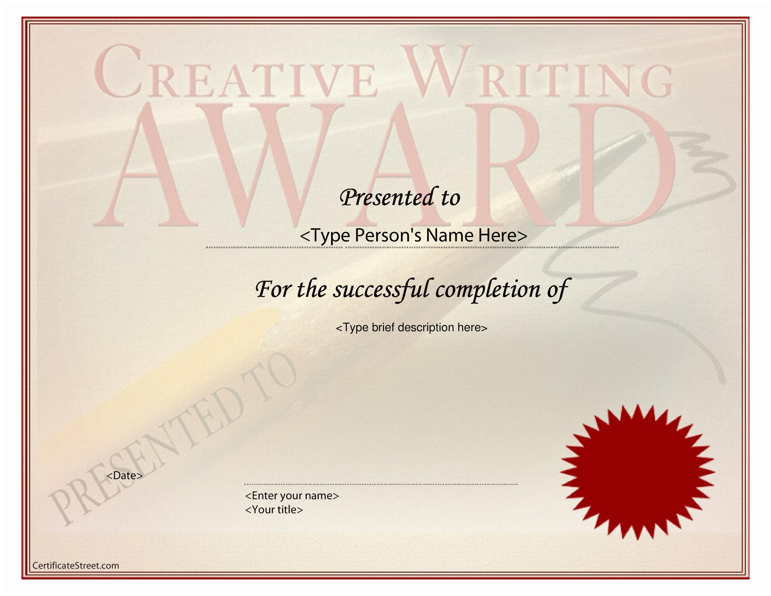 Free Award Template 14