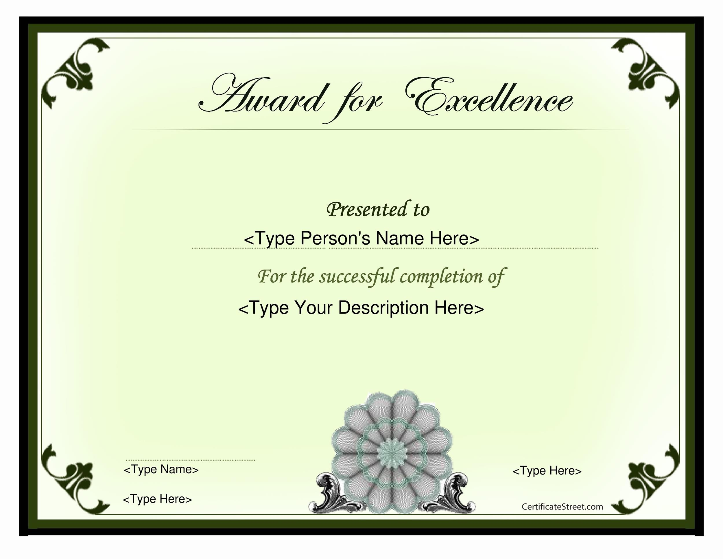 50 Amazing Award Certificate Templates Template Lab – Award of Excellence Certificate Template