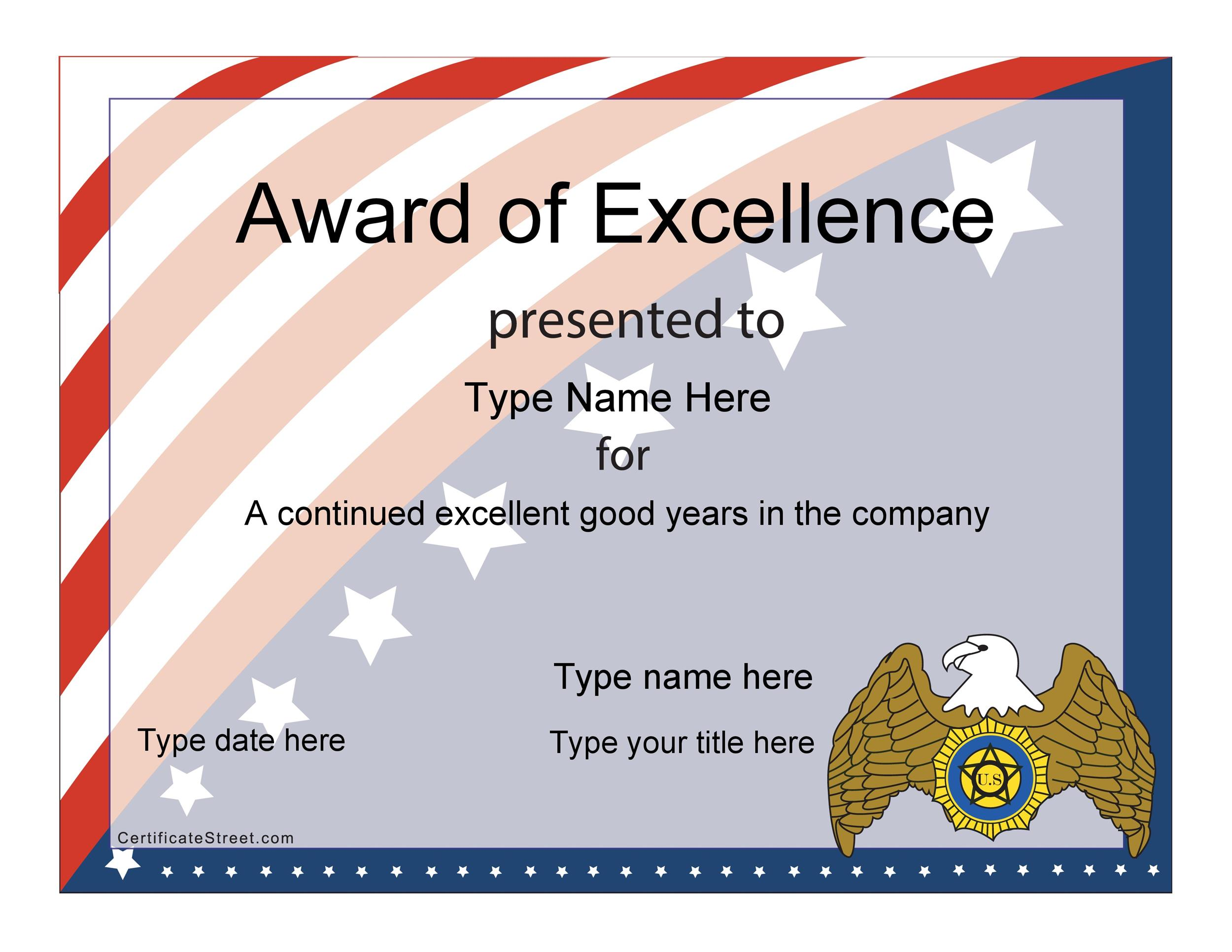 Printable Award Template 23  Best Employee Certificate Sample
