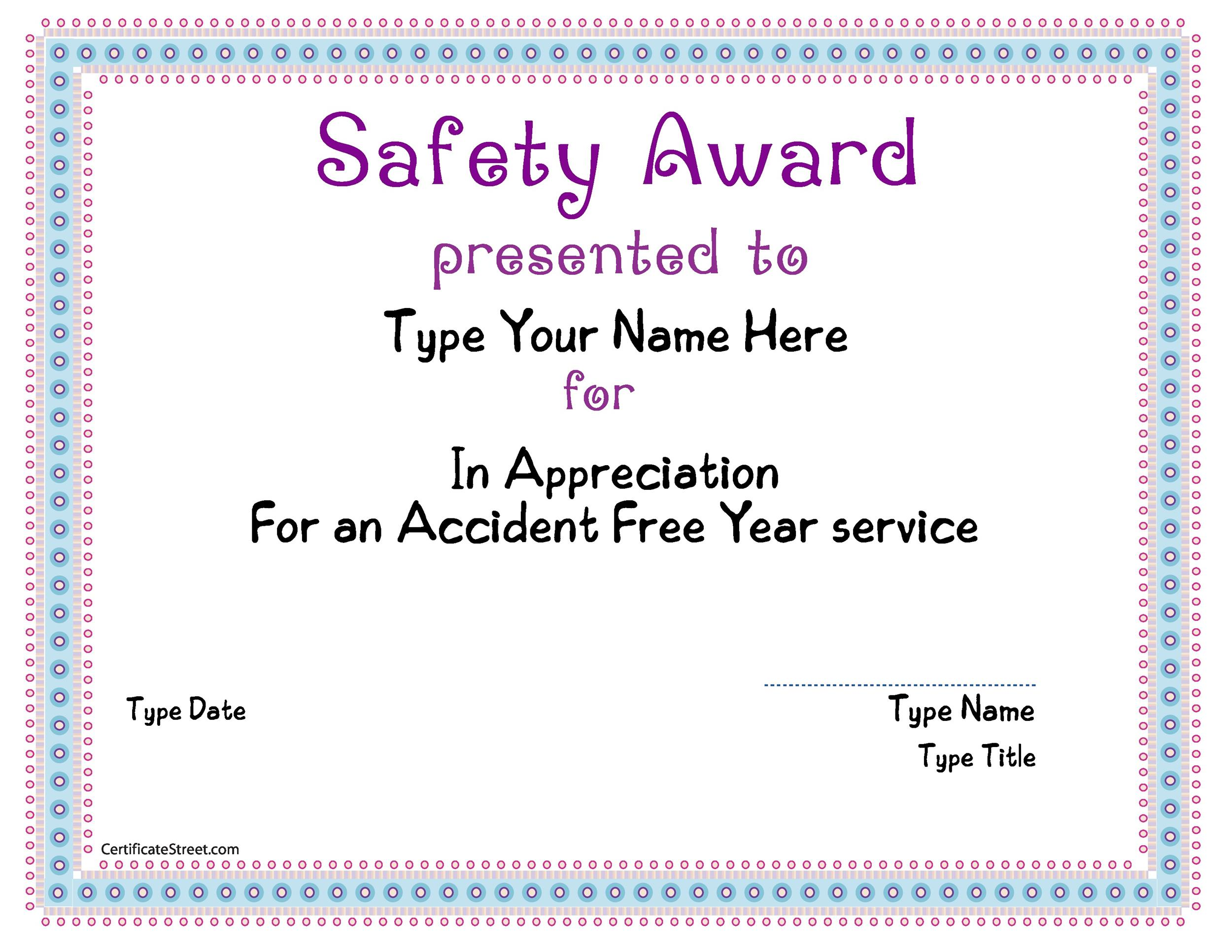 employee safety award