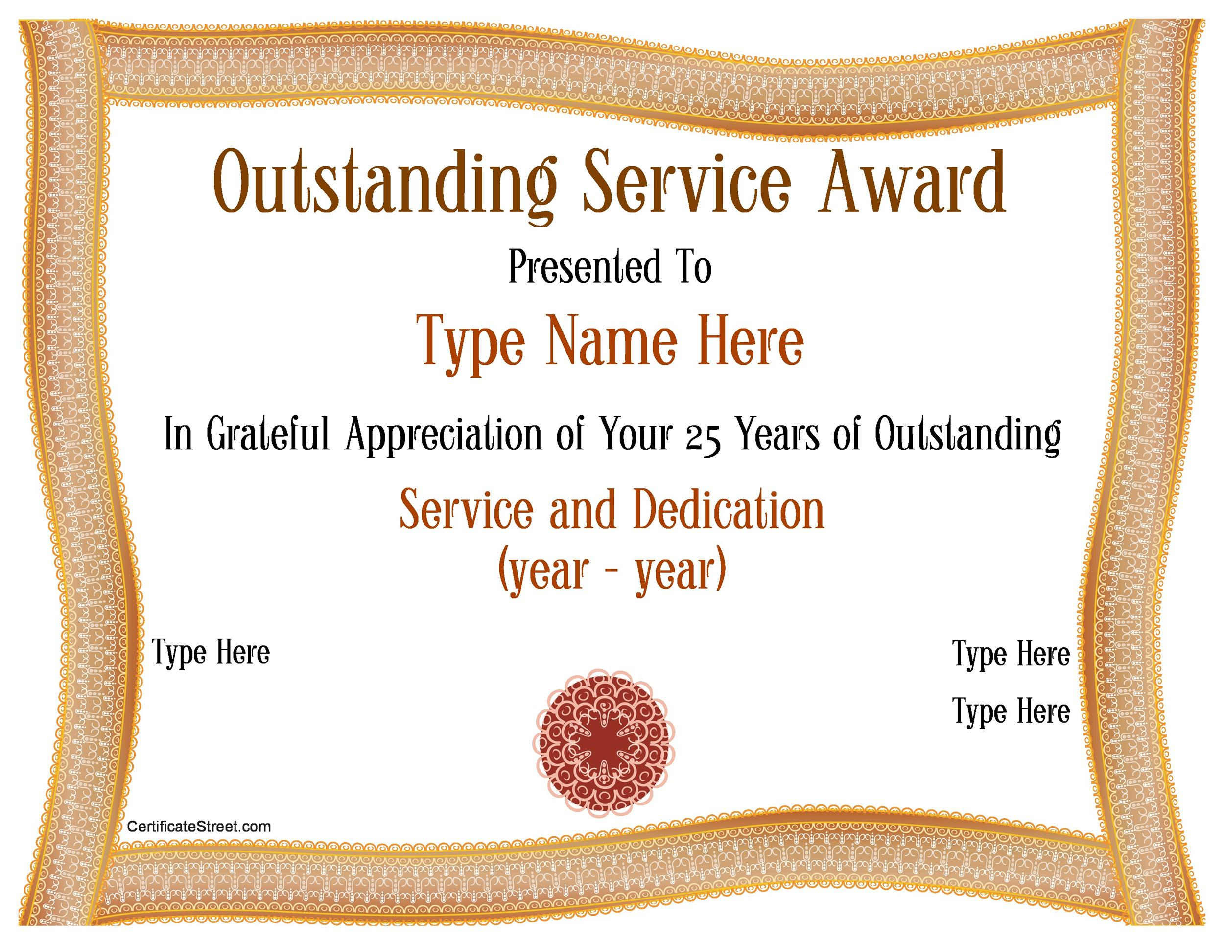 years of service award certificate templates50 amazing