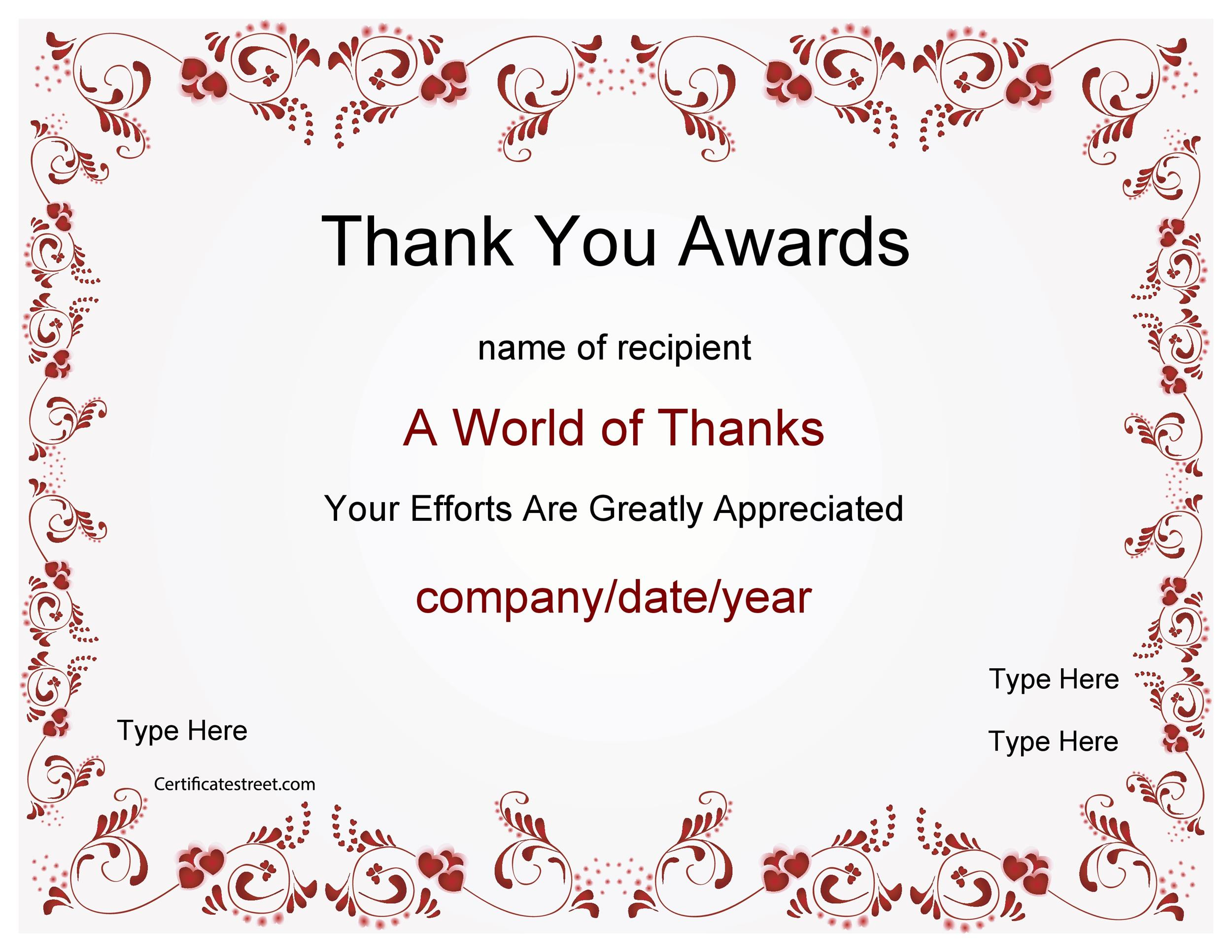 Free Award Template 46