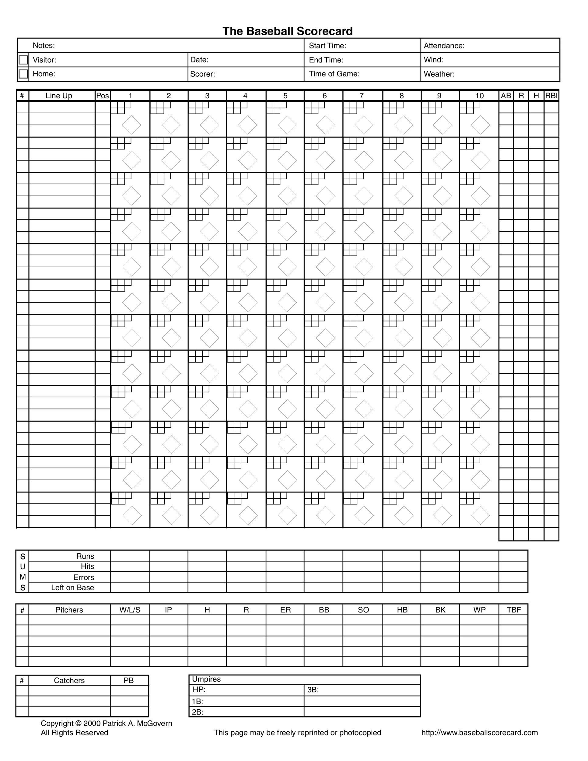 30 Printable Baseball Scoresheet Scorecard Templates Template Lab