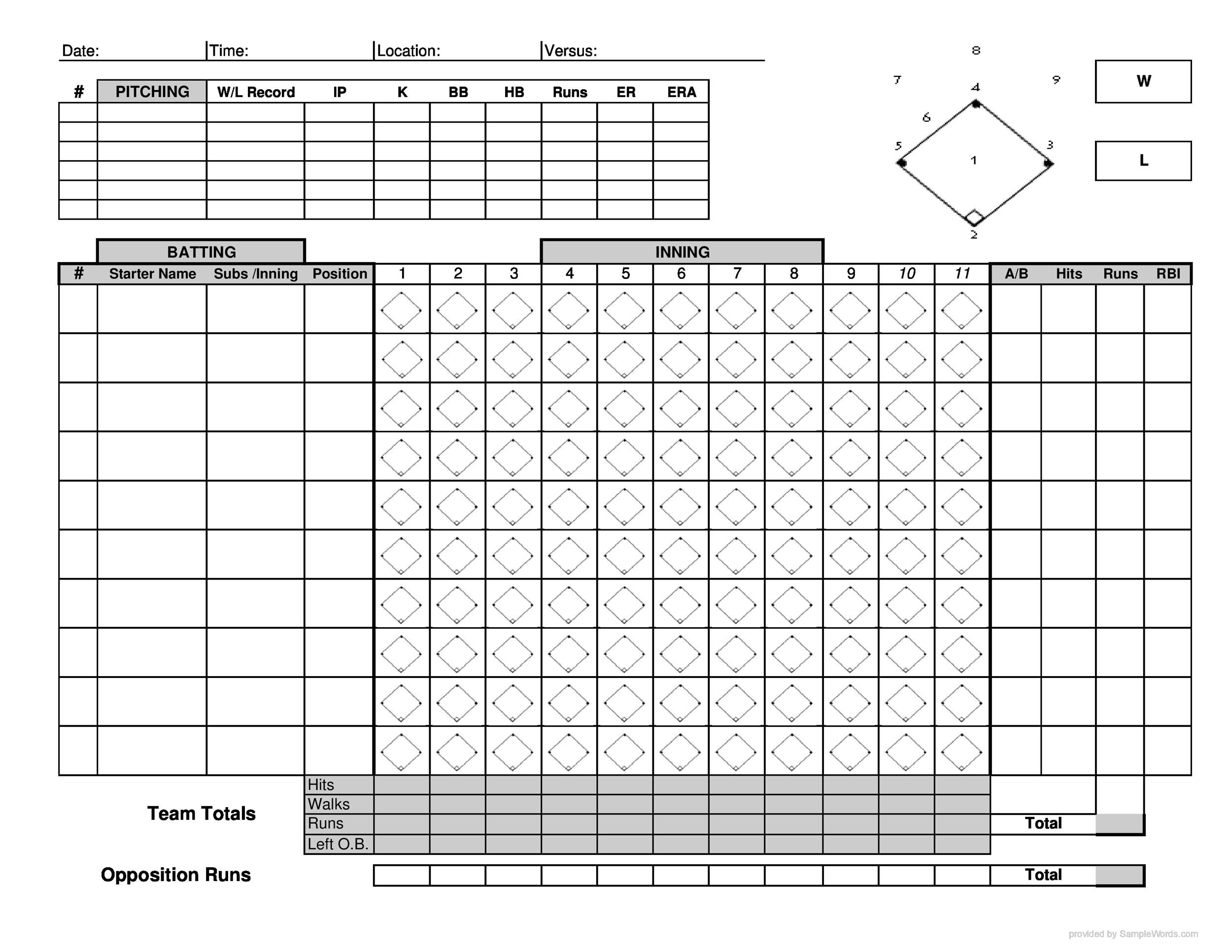 30  printable baseball scoresheet    scorecard templates  u1405