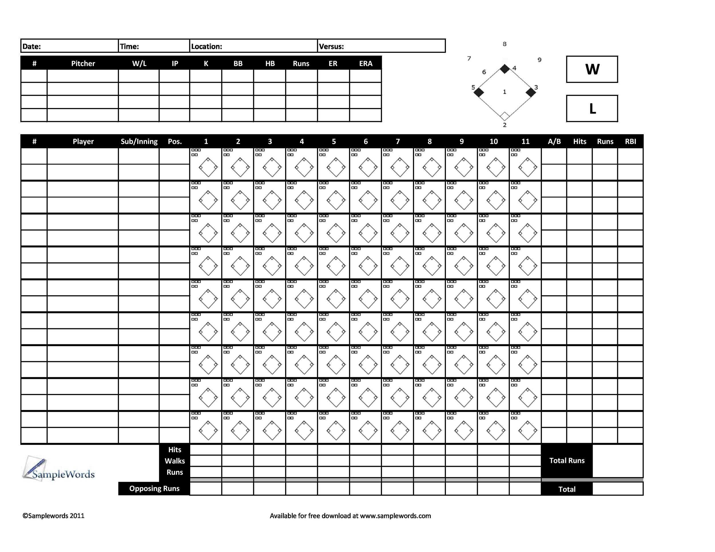 image relating to Printable Baseball Scoresheet named 30+ Printable Baseball Scoresheet / Scorecard Templates ᐅ