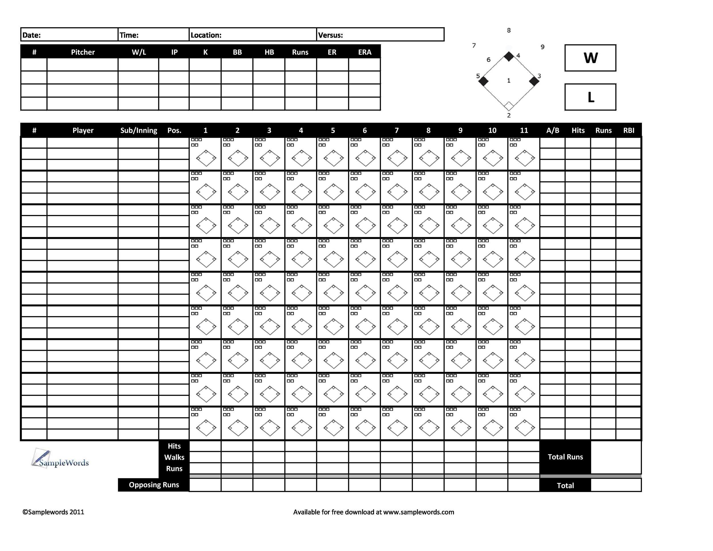 Free Baseball Score sheet Template 13