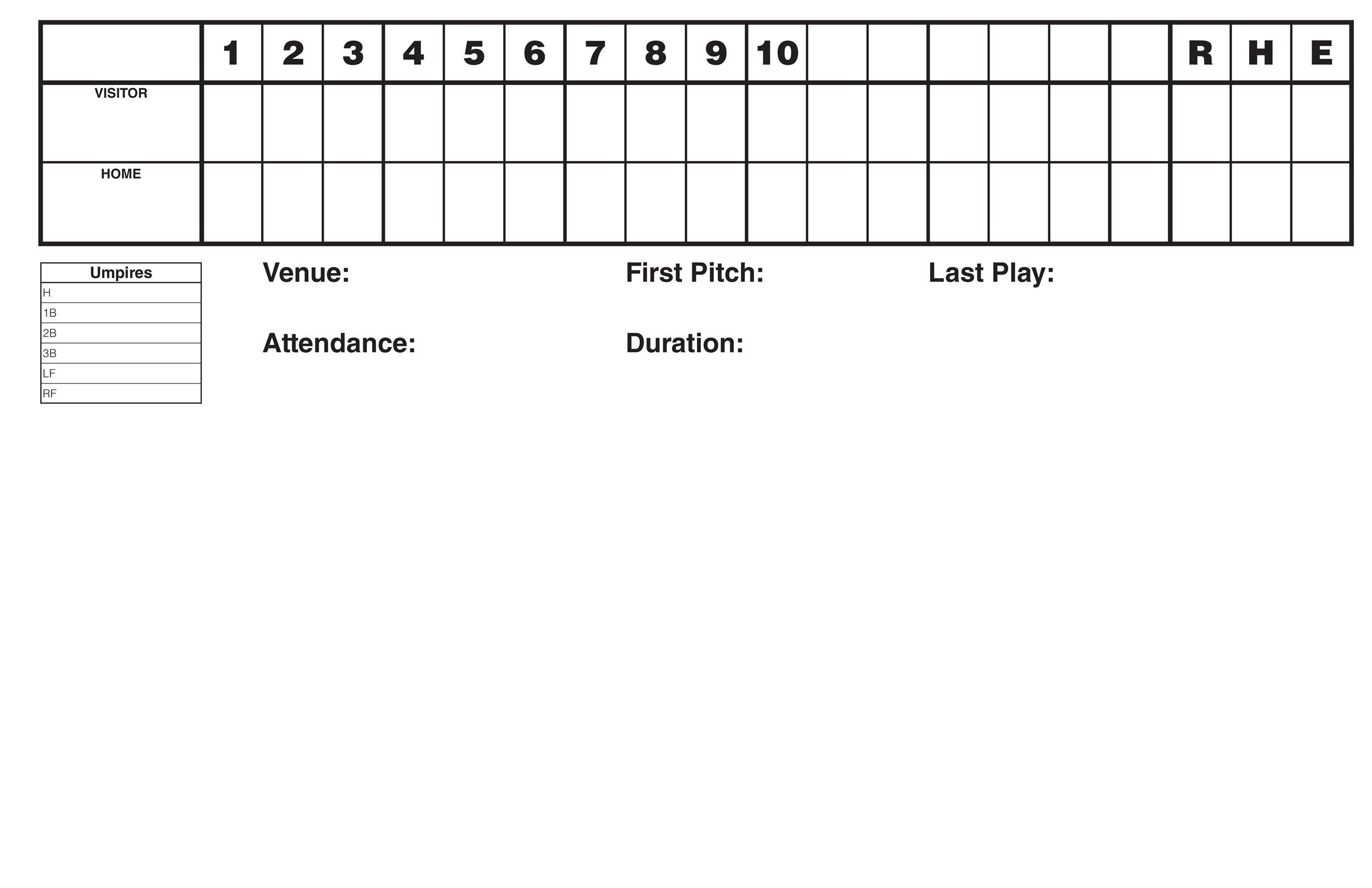 Free Baseball Score sheet Template 14