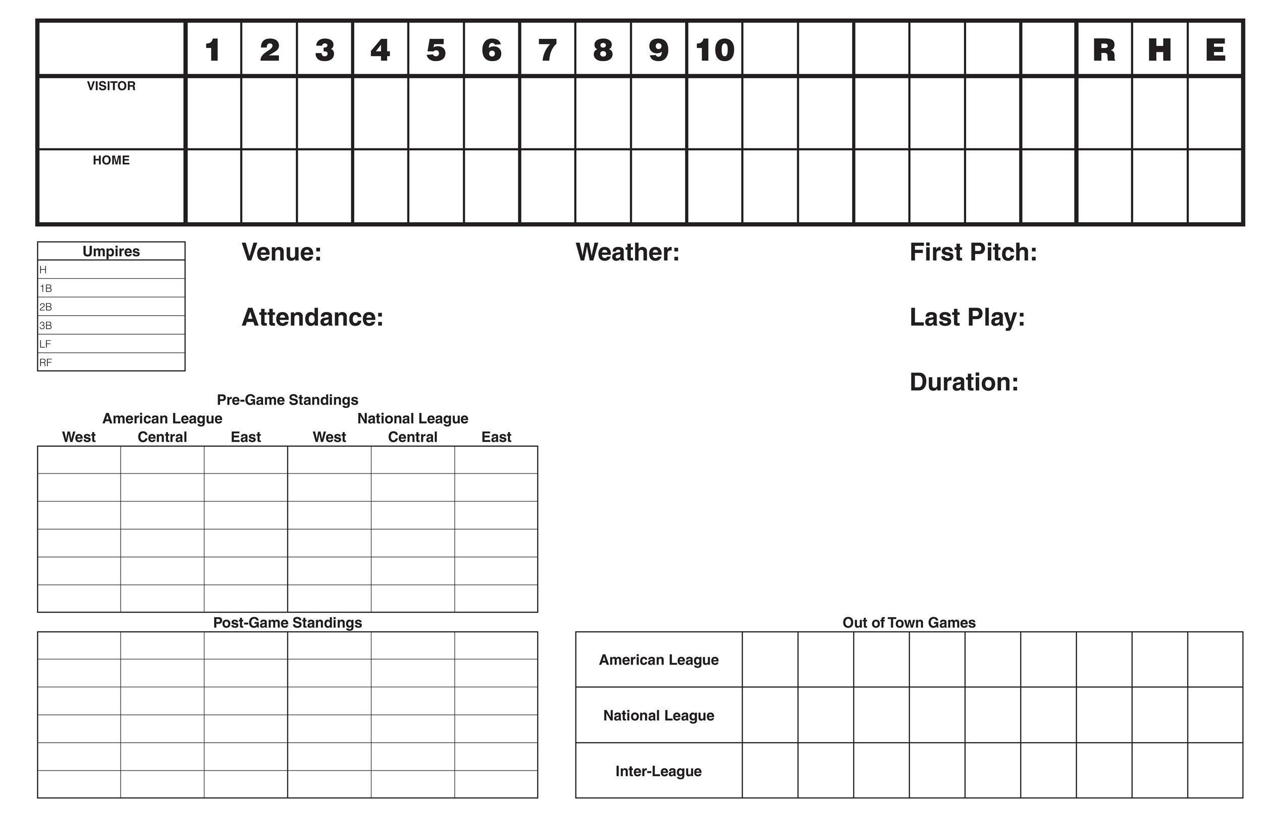 photo about Printable Baseball Scoresheet identified as 30+ Printable Baseball Scoresheet / Scorecard Templates ᐅ