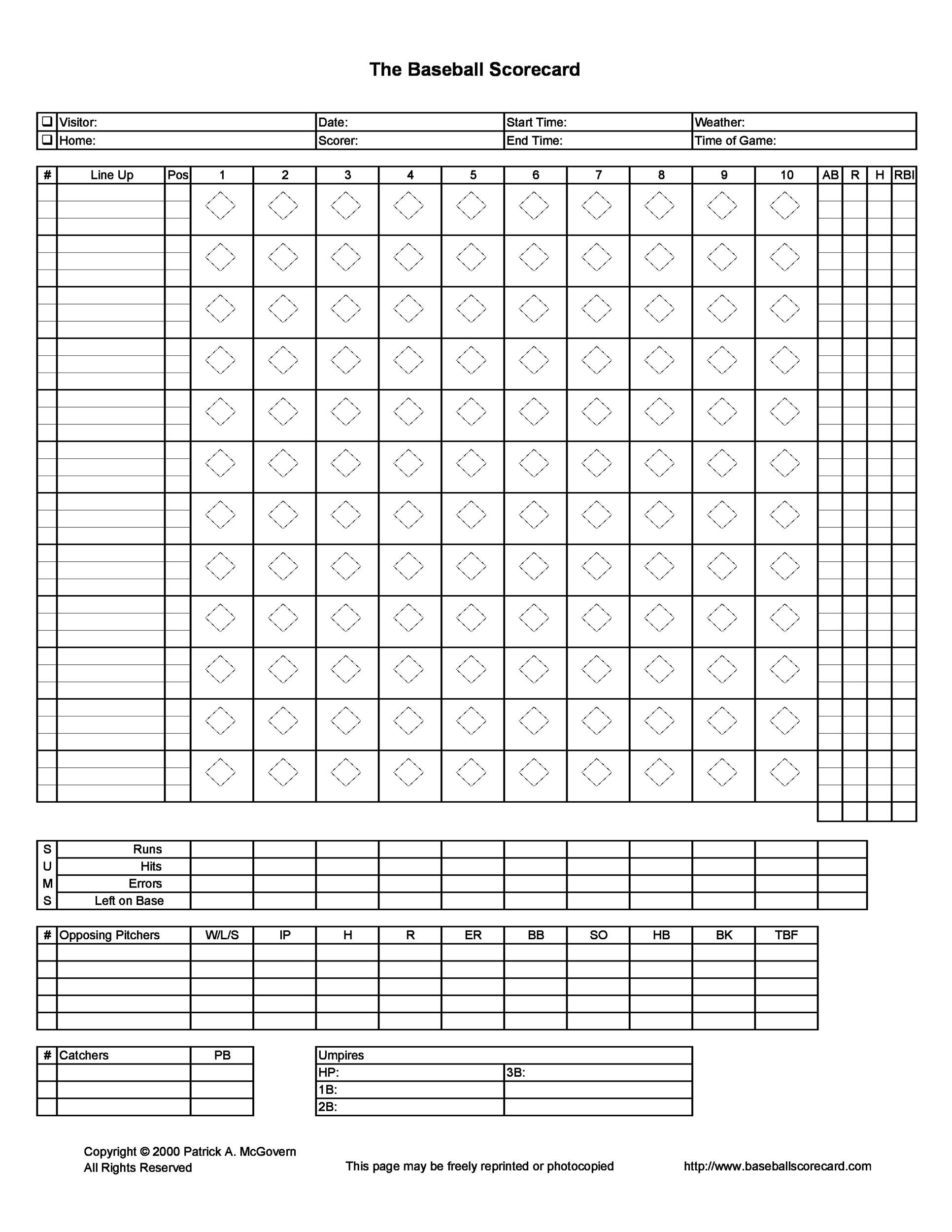 Printable Baseball Scoresheet  Scorecard Templates  Template Lab