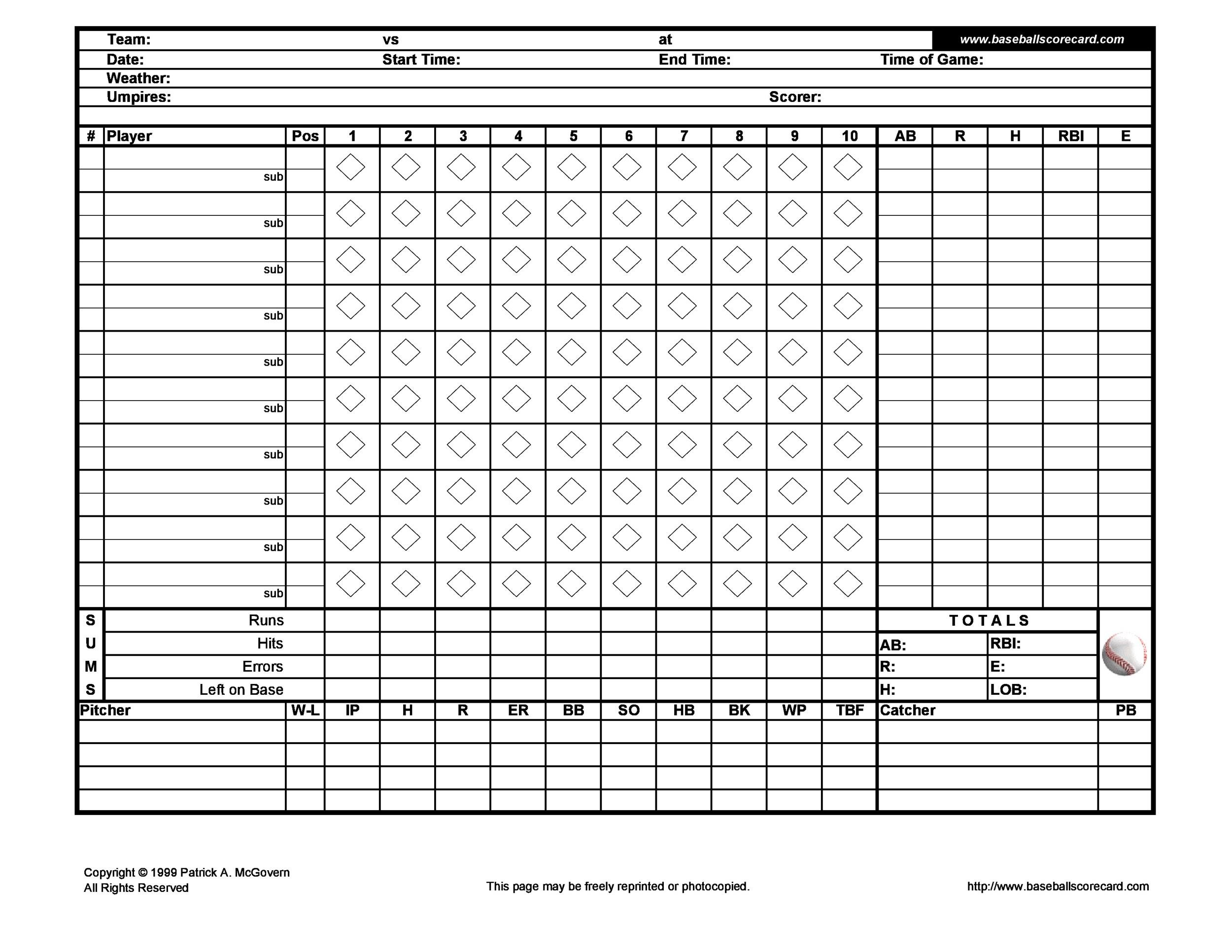 Baseball Scoresheet Template 18