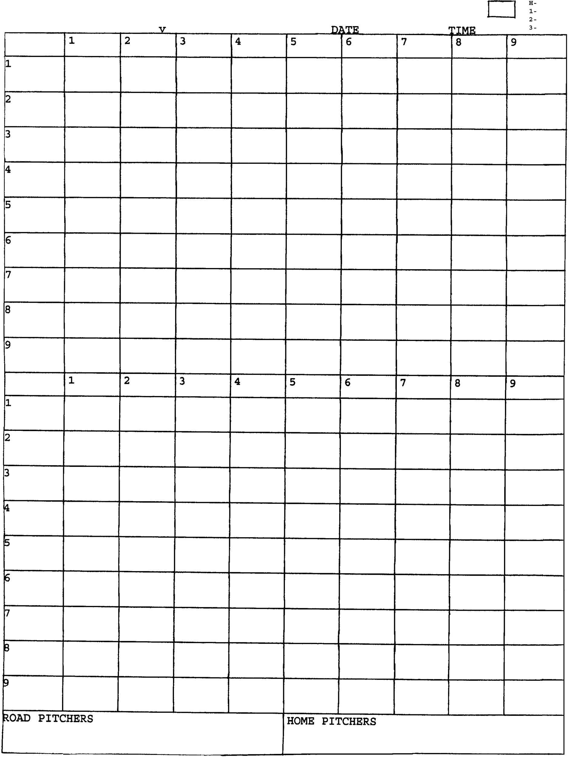 Free Baseball Score sheet Template 20