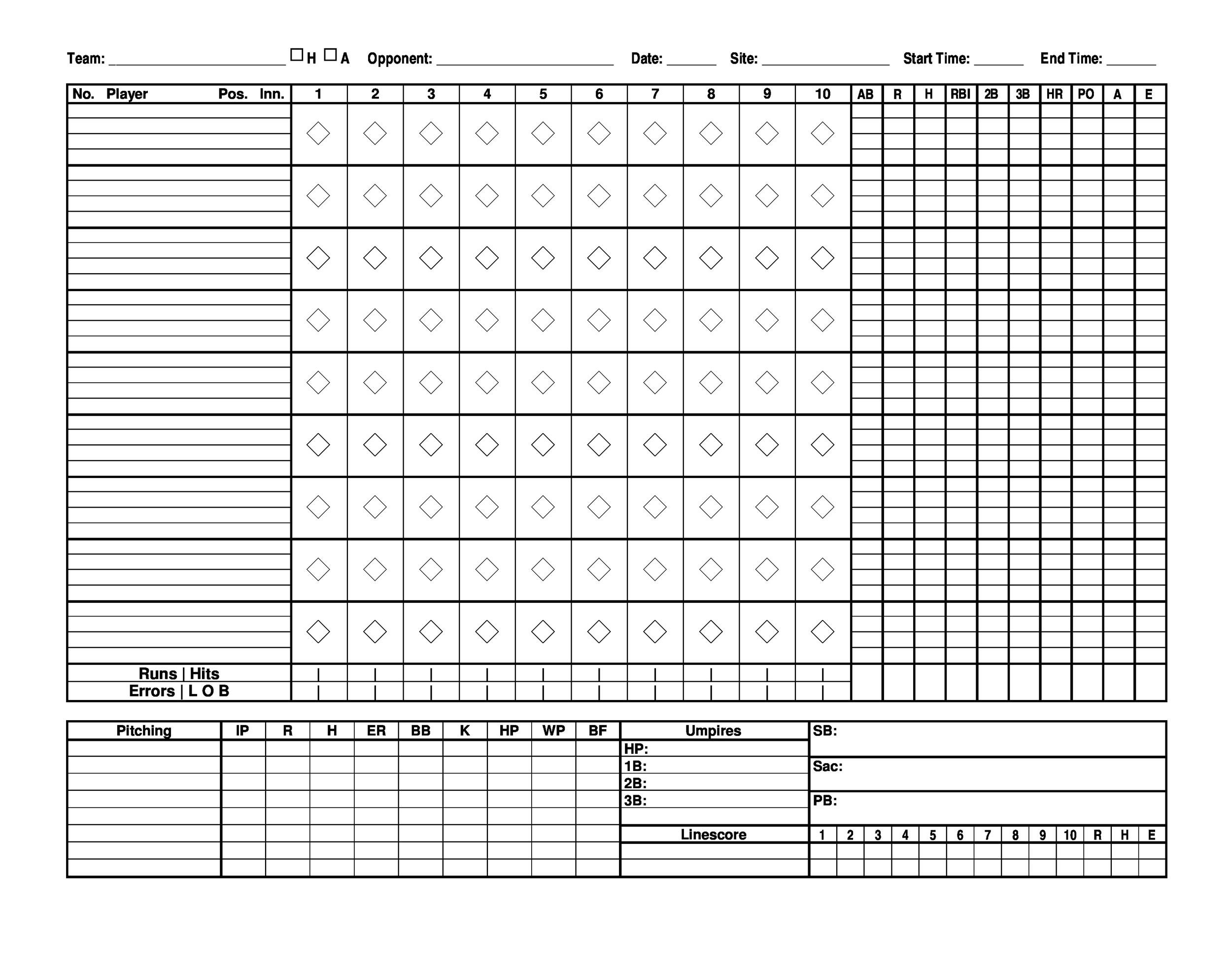 Printable Baseball Score Sheet Template 24