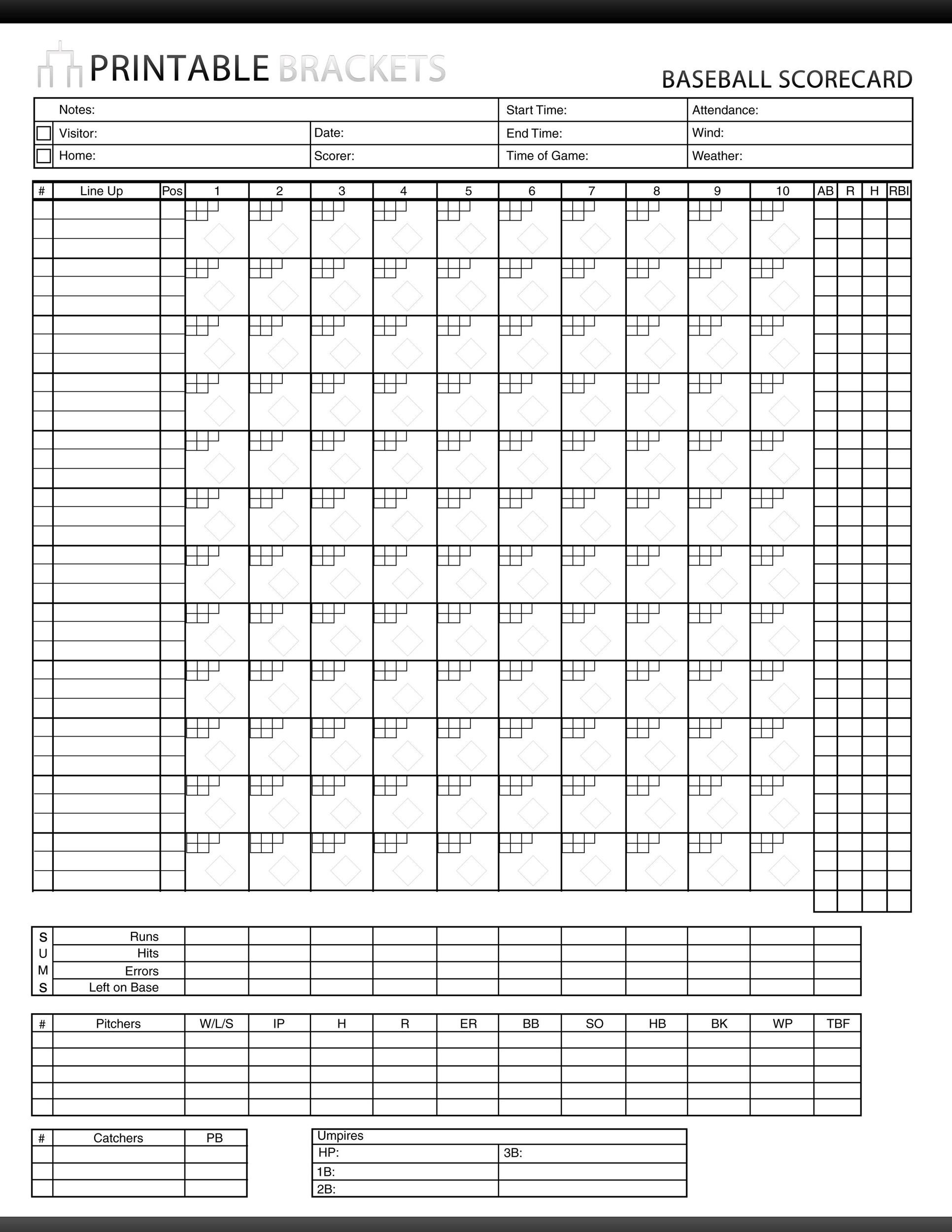 30 Printable Baseball Scoresheet Scorecard Templates Template Lab – Baseball Scoresheet