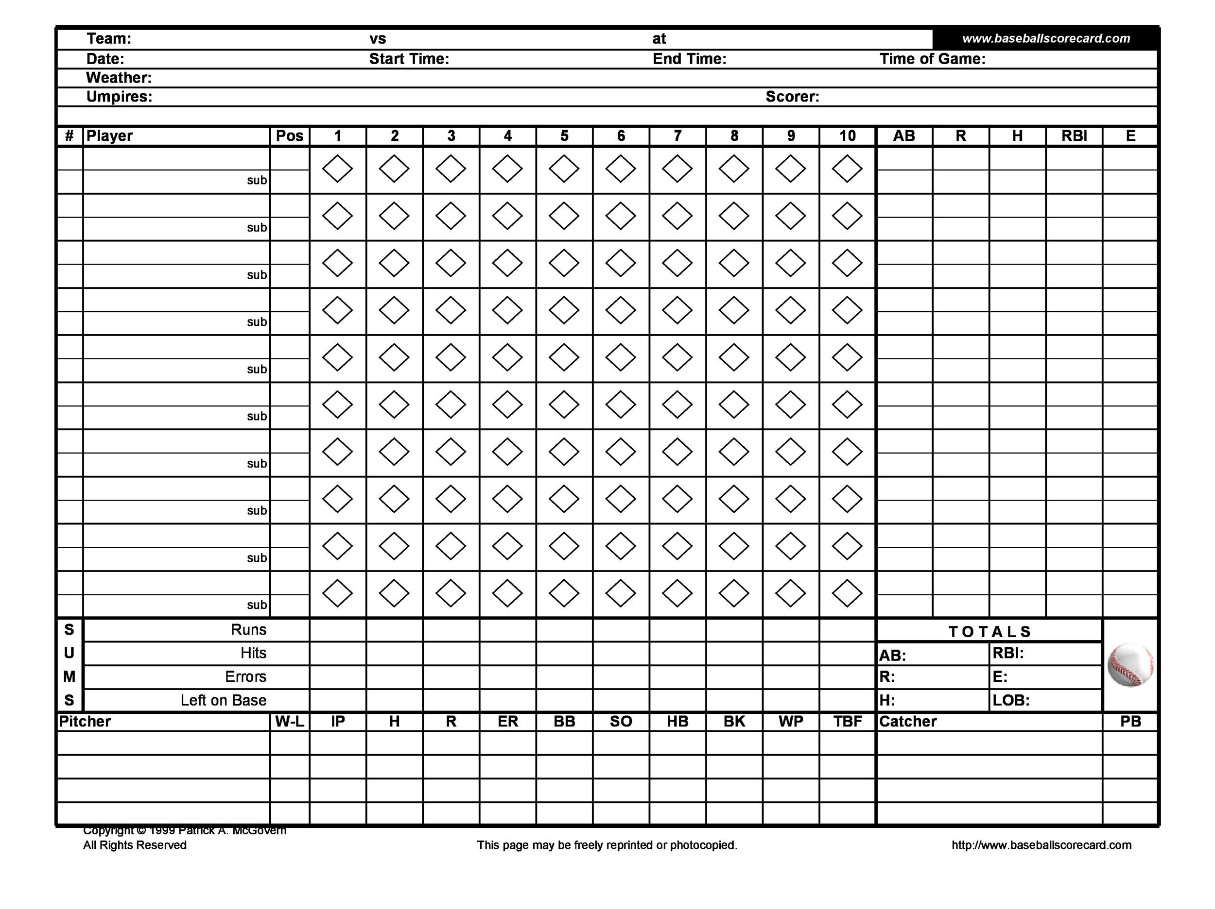 Baseball score sheet pdf baseball scoresheet pdf for Softball scorecard template