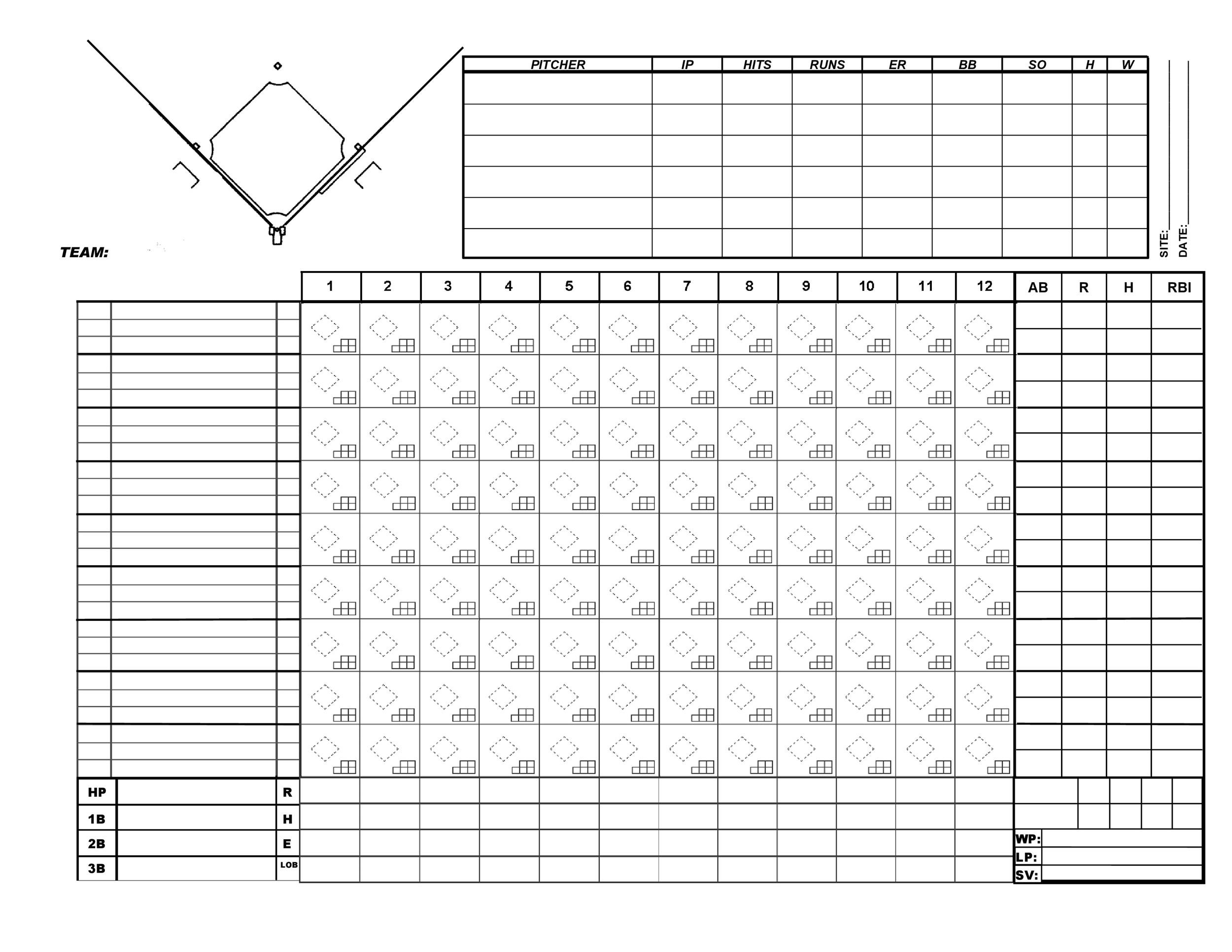 Baseball Scoresheet Template 29