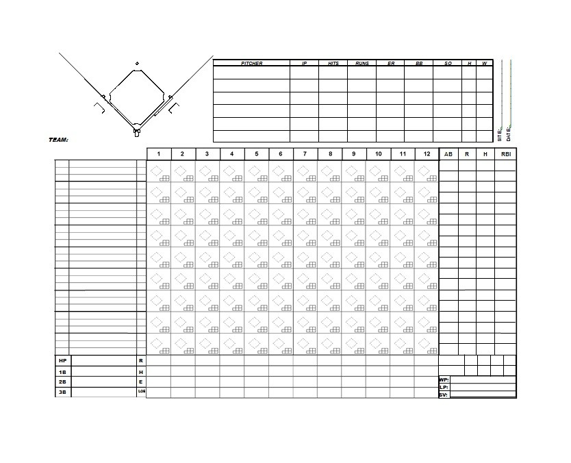 Baseball Scoresheet Templates