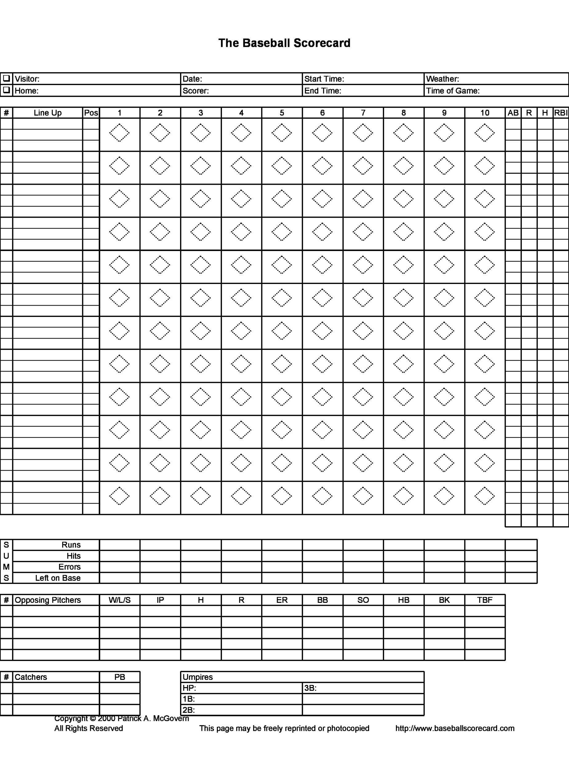 Free Baseball Score sheet Template 32