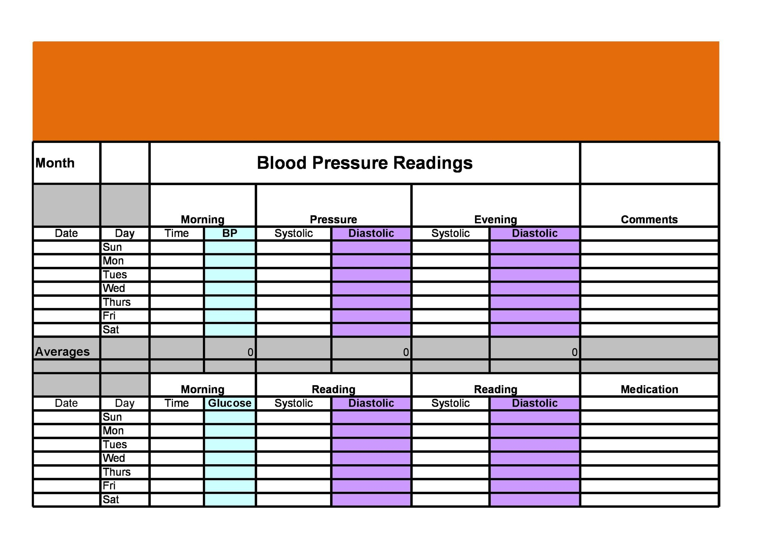 Printable Blood Pressure Log Templates  Template Lab
