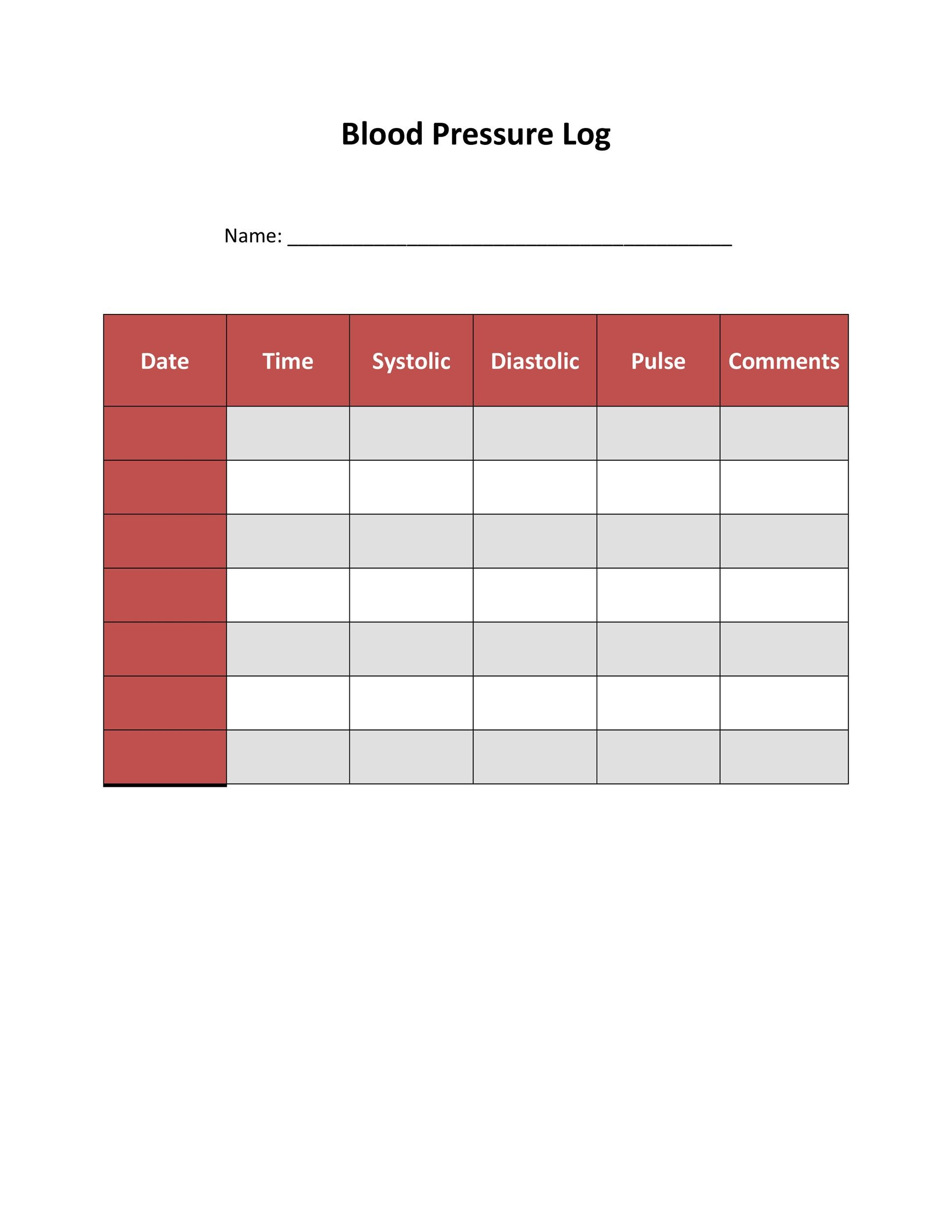 Free Blood Pressure Log Template 16