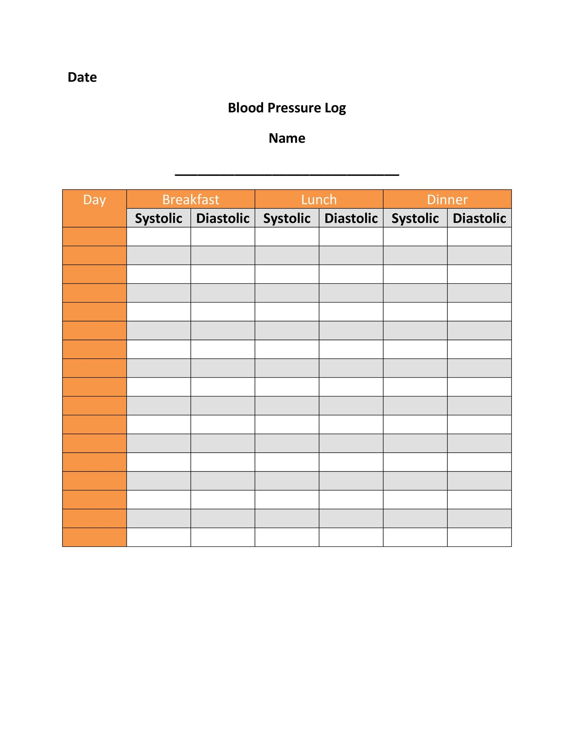 Free Blood Pressure Log Template 24