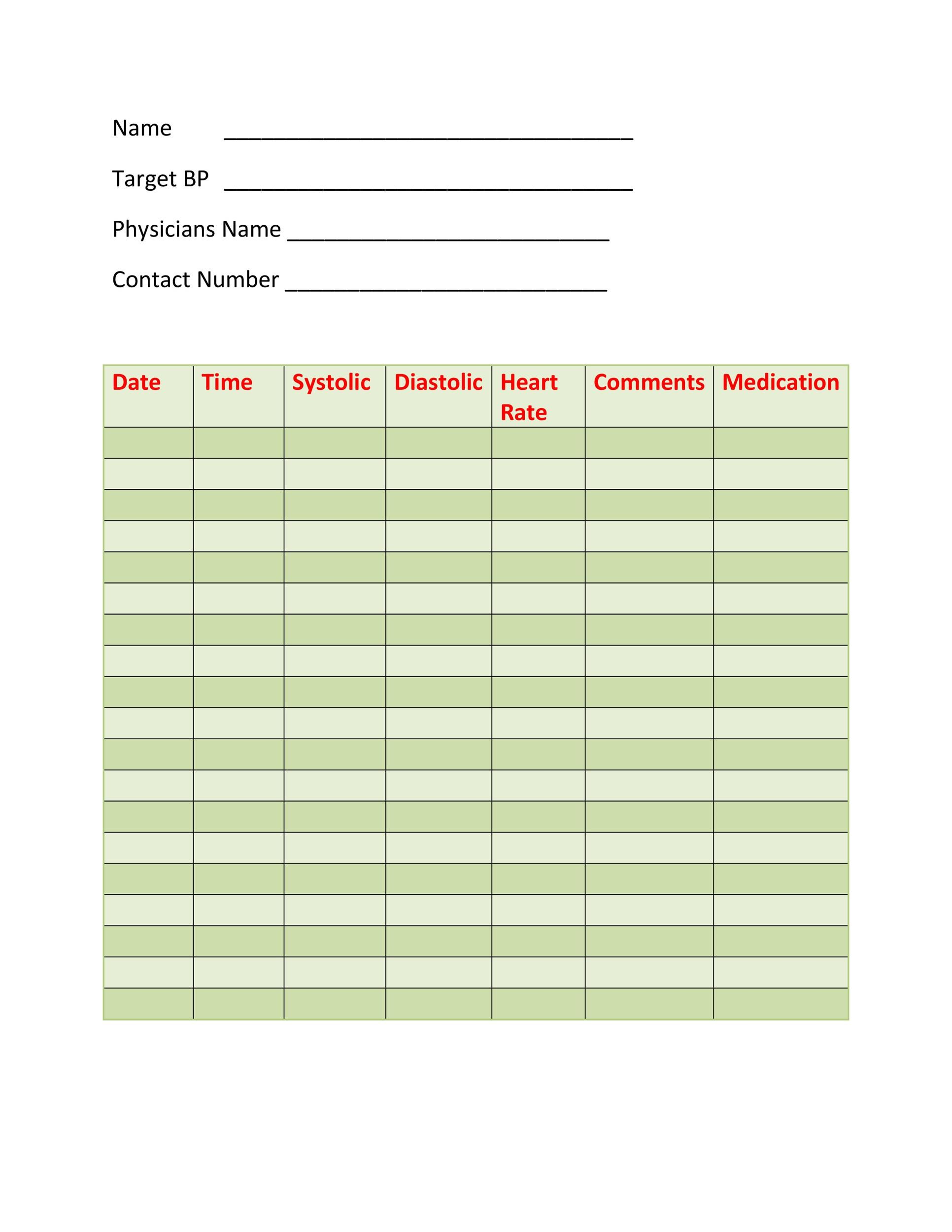 Free Blood Pressure Log Template 28