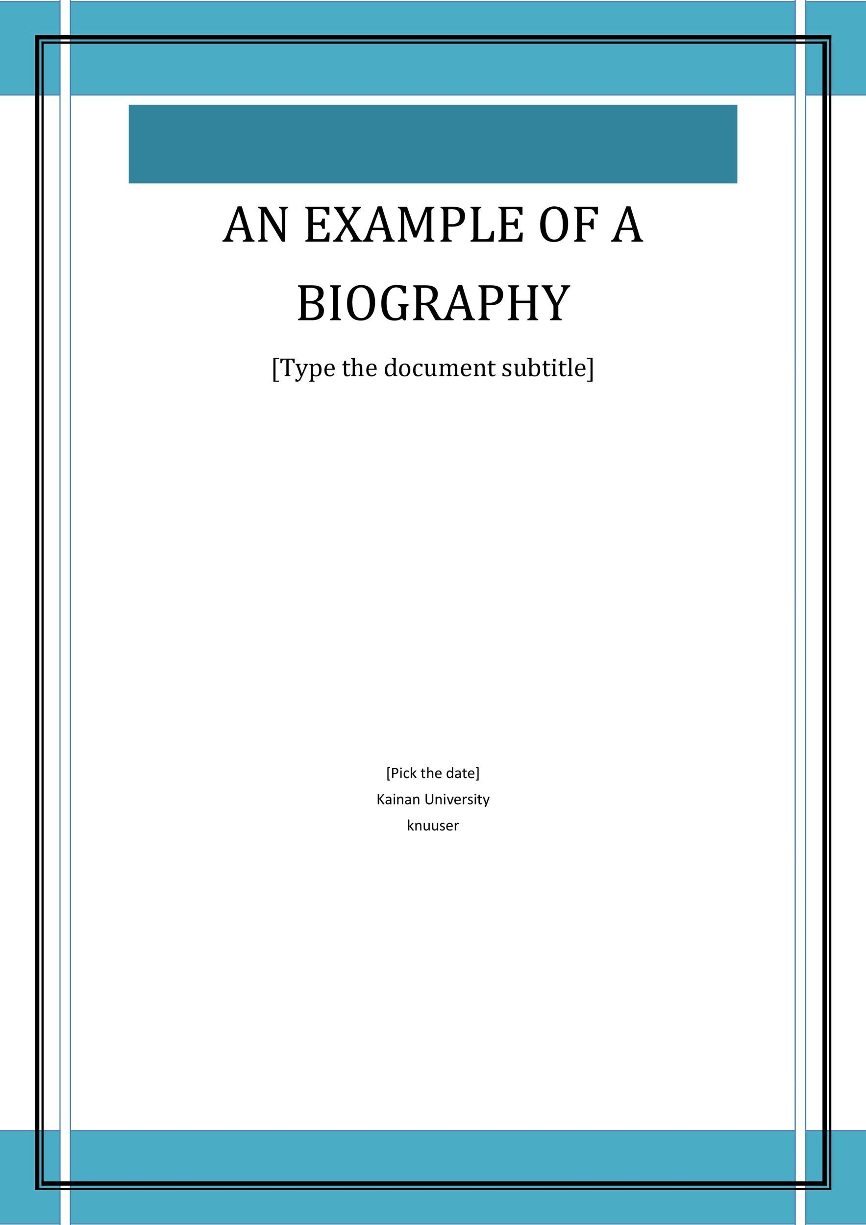 Printable Bonus Biography Template 01  Microsoft Word Biography Template