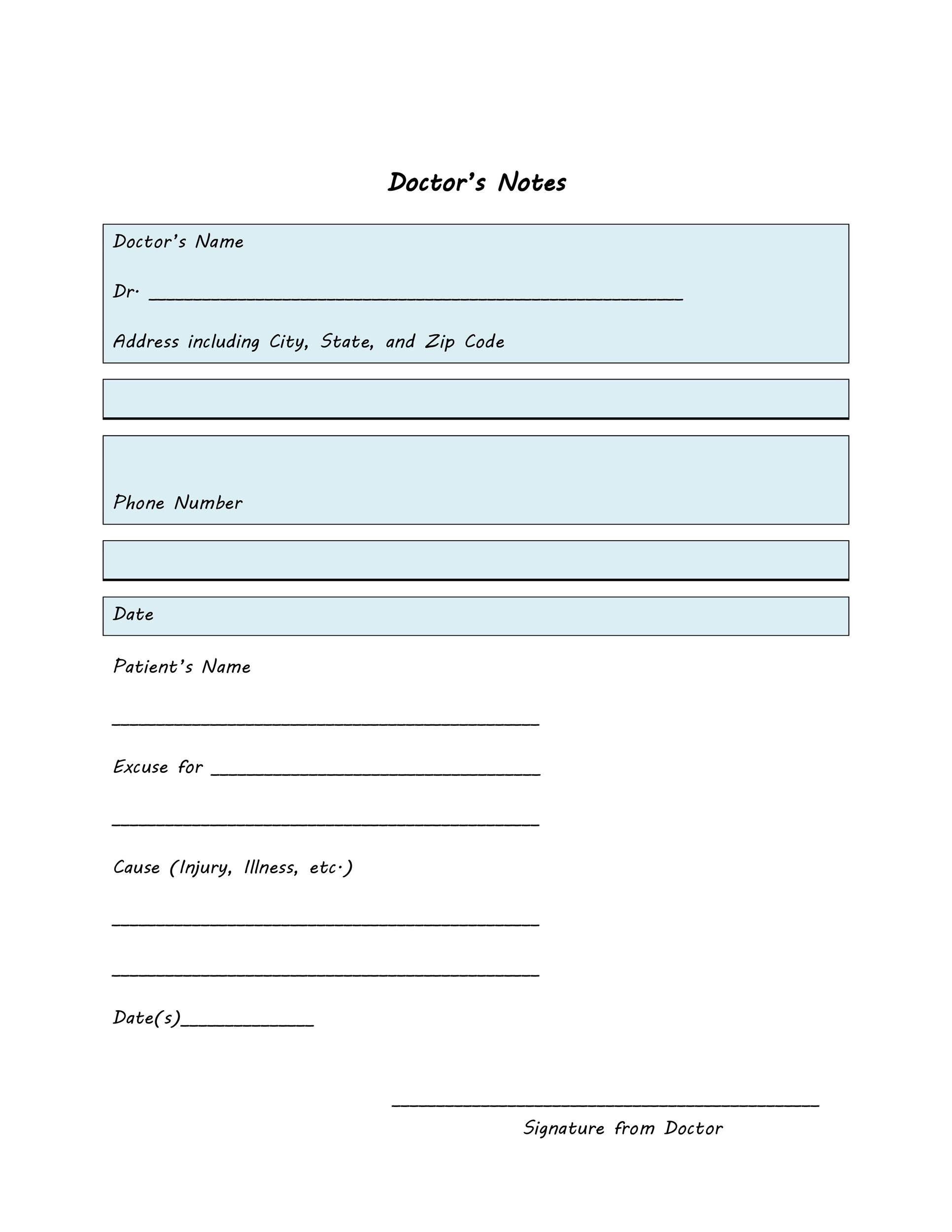 free bonus doctor notes template 01 printable