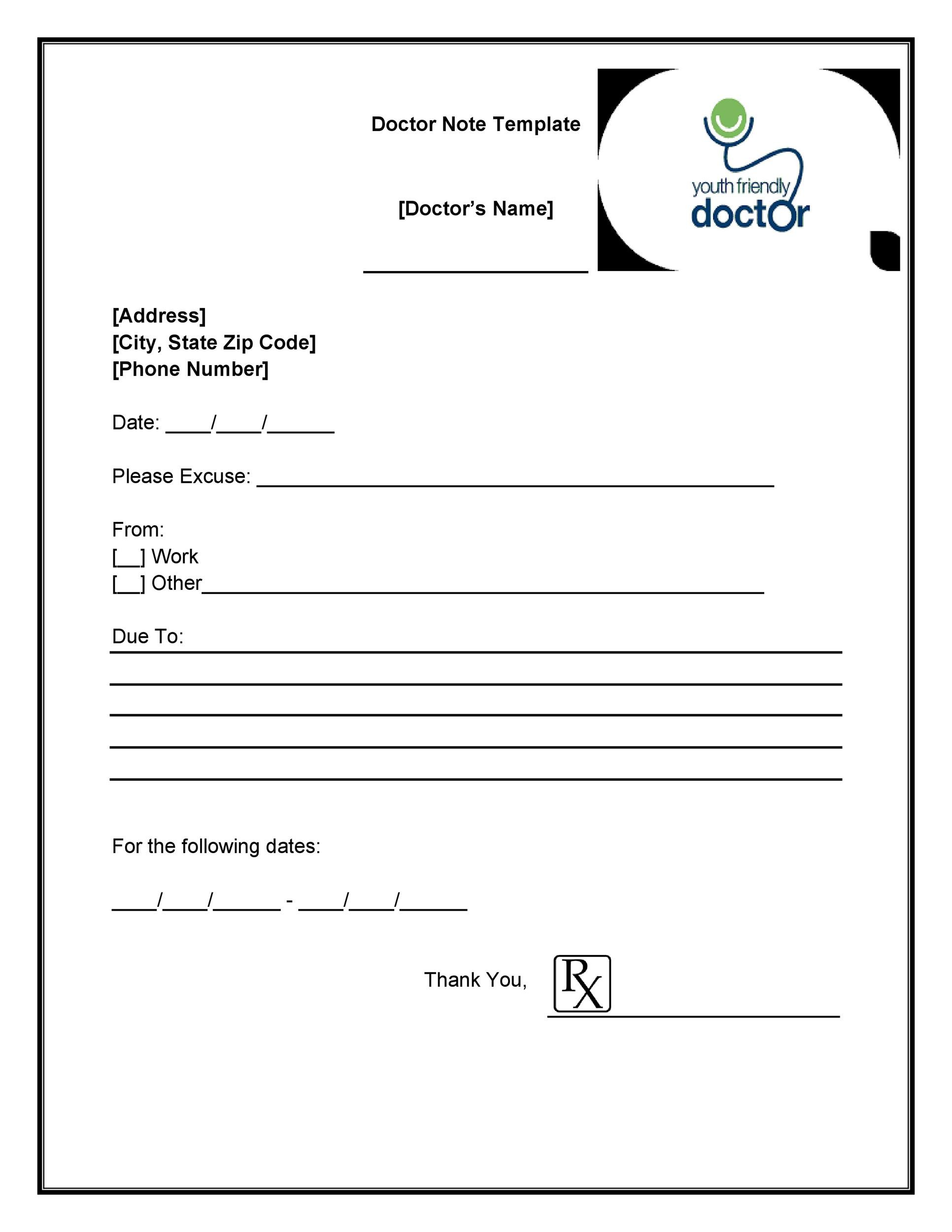dr note template