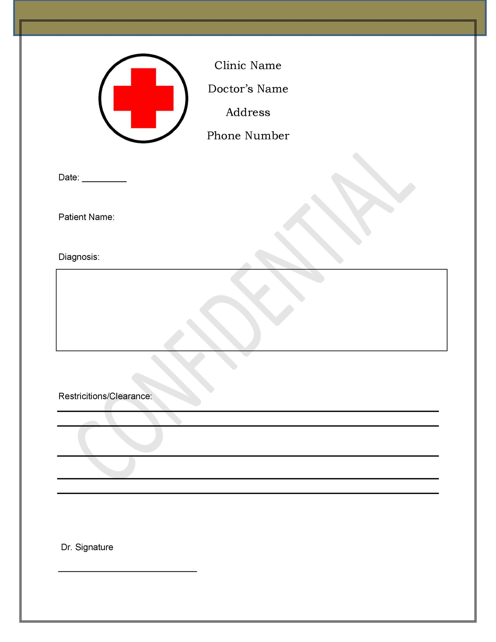 Doctors Note For Sick Leave Template Sample Doctor Note  Free
