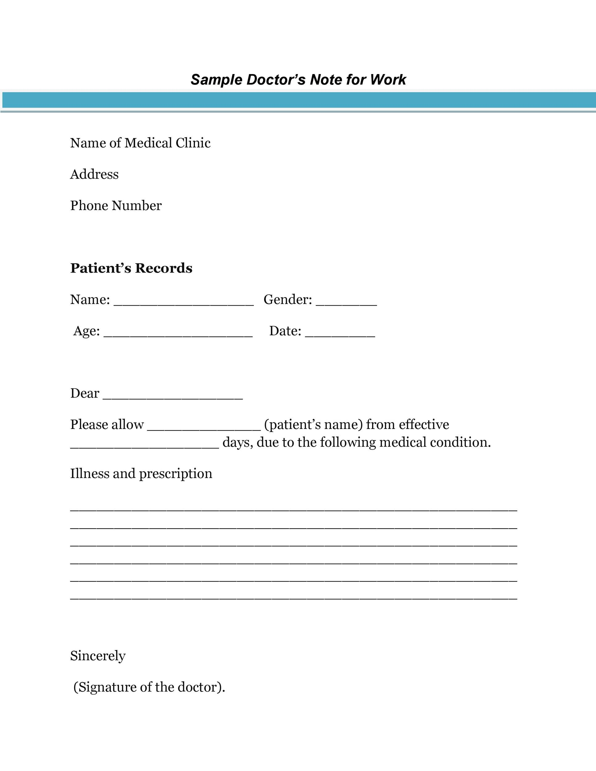 Doctors Note Template Doctors Fit Note Template For Work Pdf Free