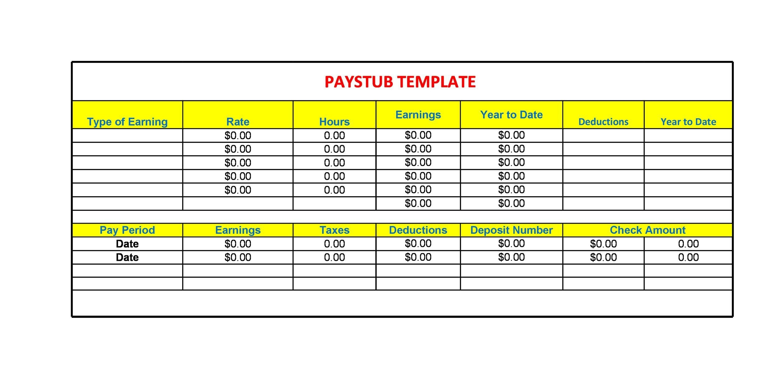 Free Paystub Template | 25 Great Pay Stub Paycheck Stub Templates