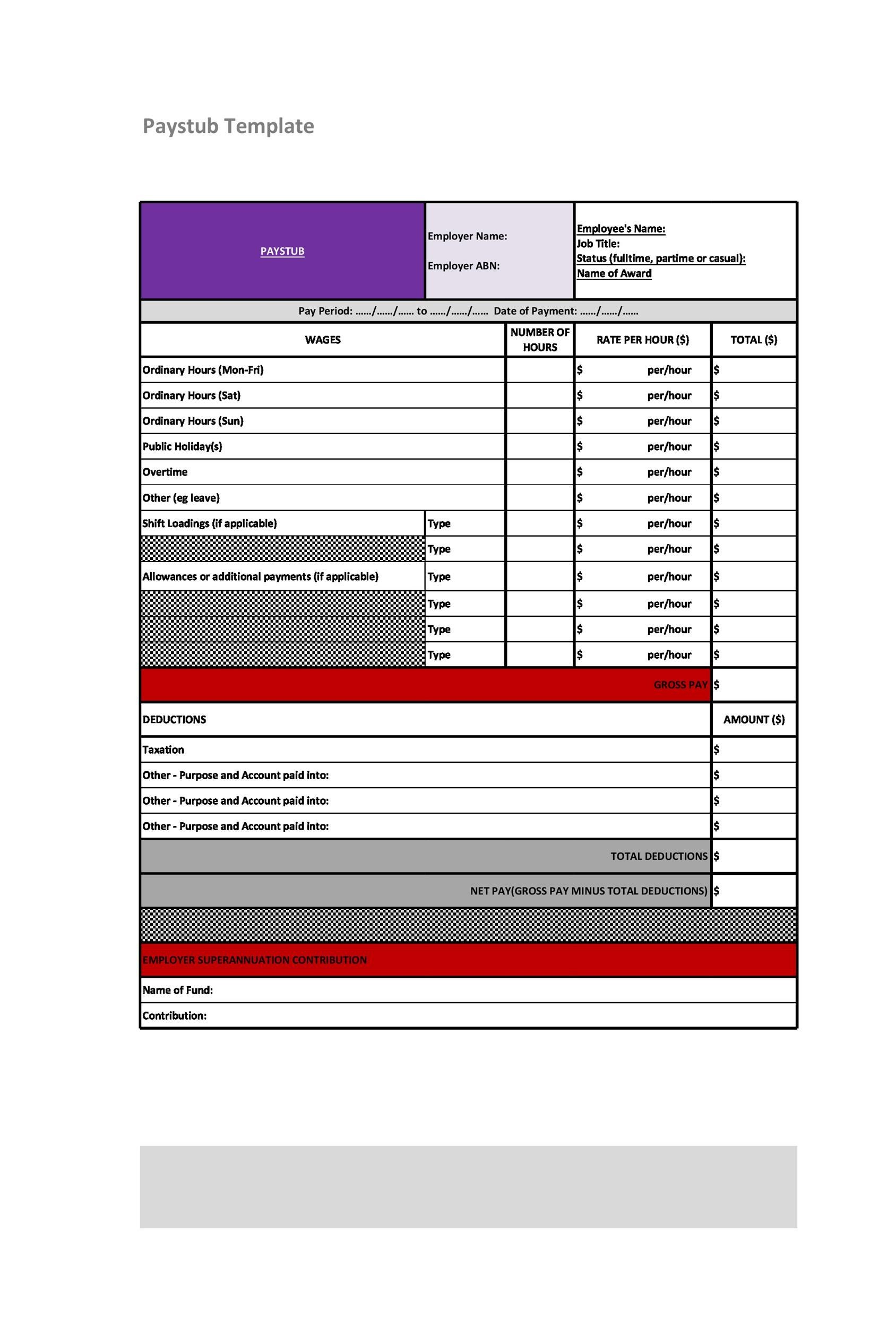25 Great Pay Stub Paycheck Stub Templates  Paystub Templates