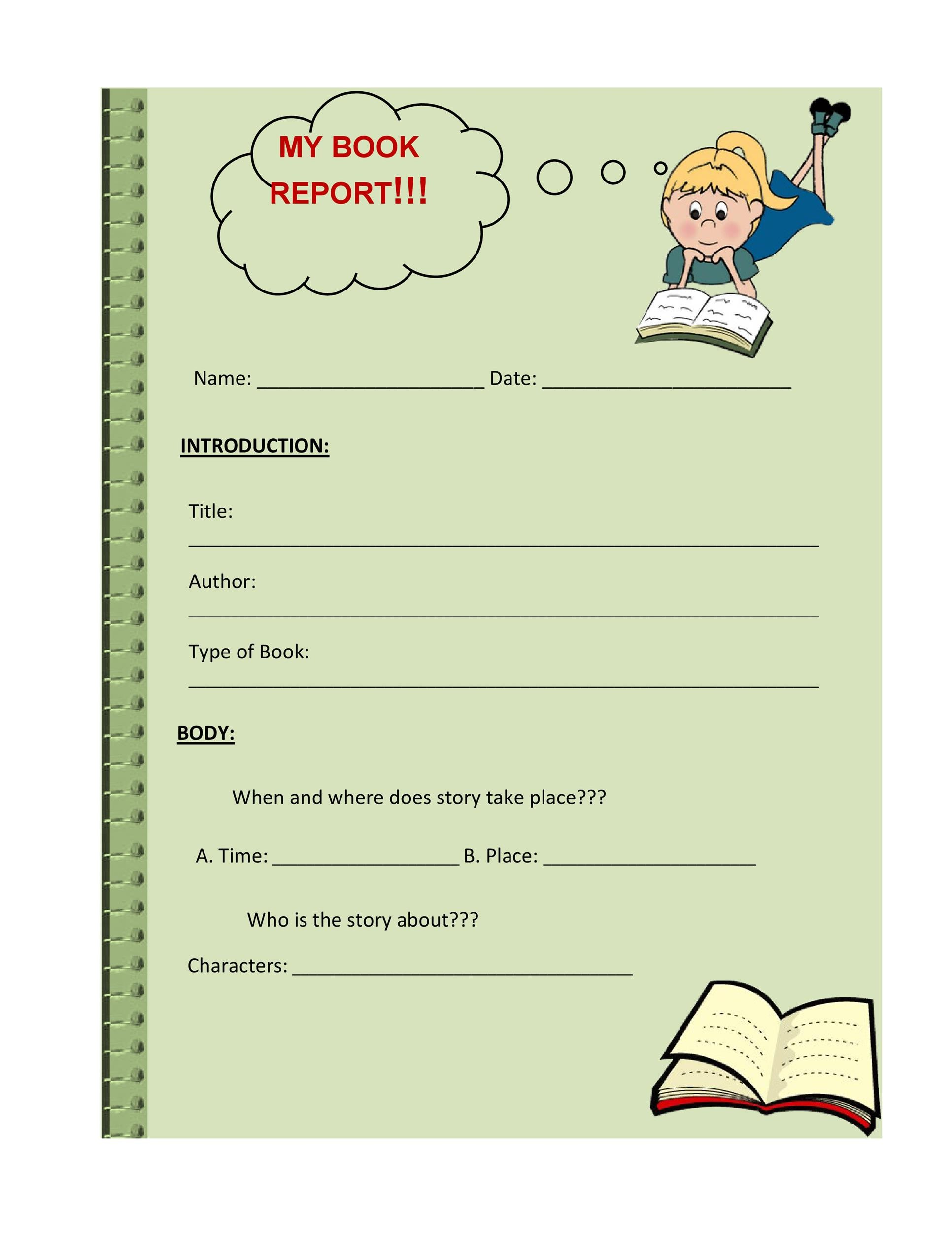 Free Book Report Template 05