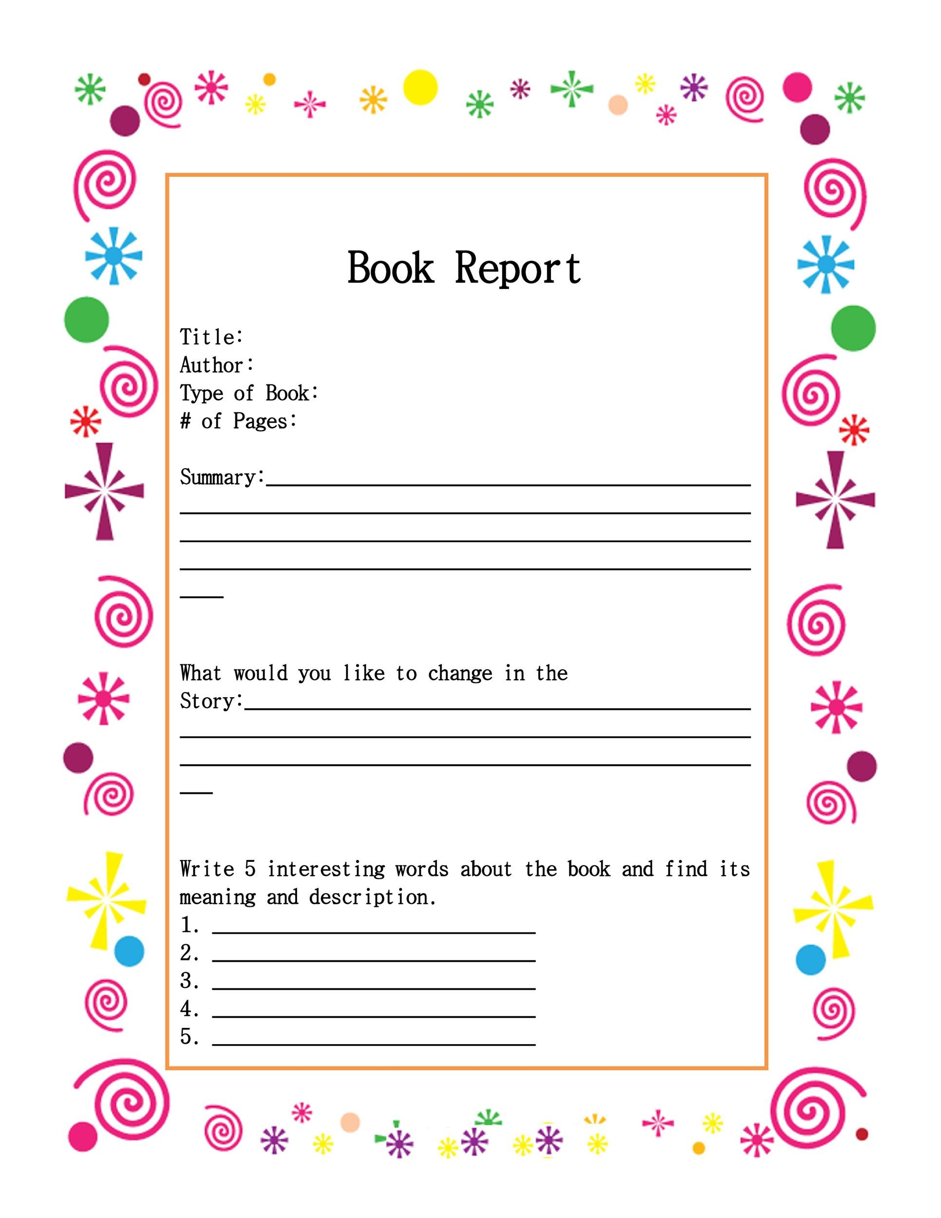Printable Book Report Template 12  Printable Book Report Forms