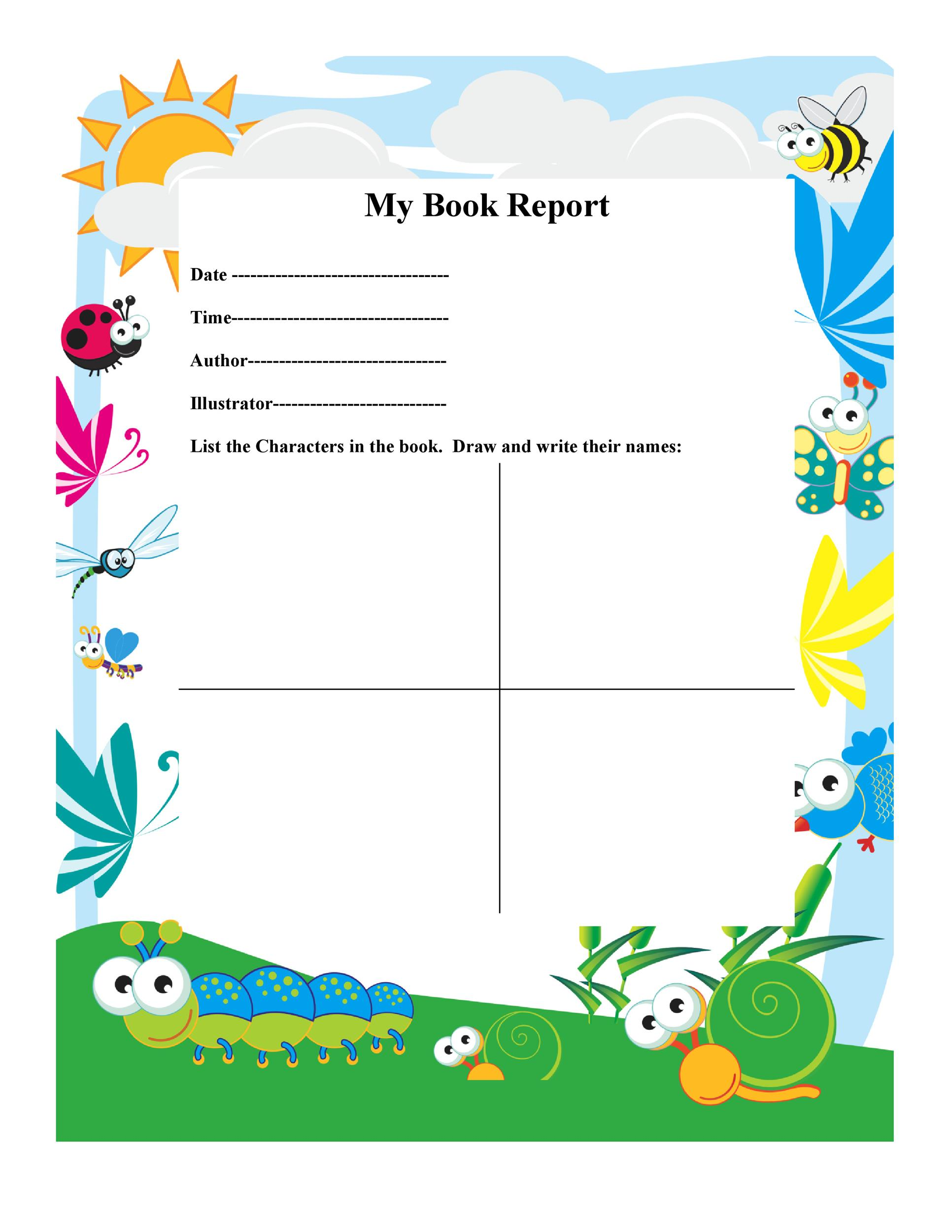 Book Report Templates  Reading Worksheets