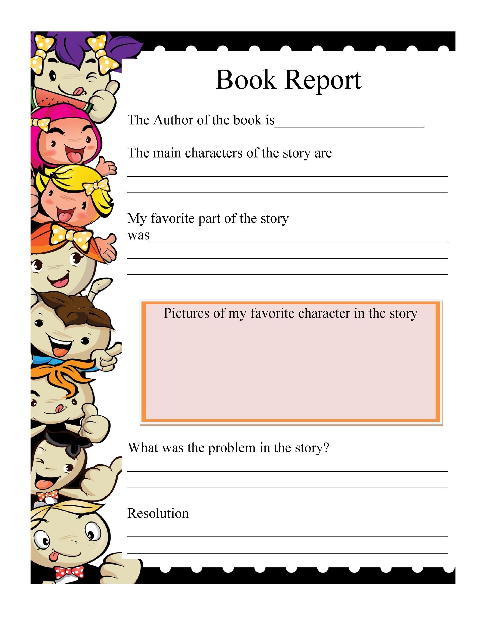 Book report printable templates