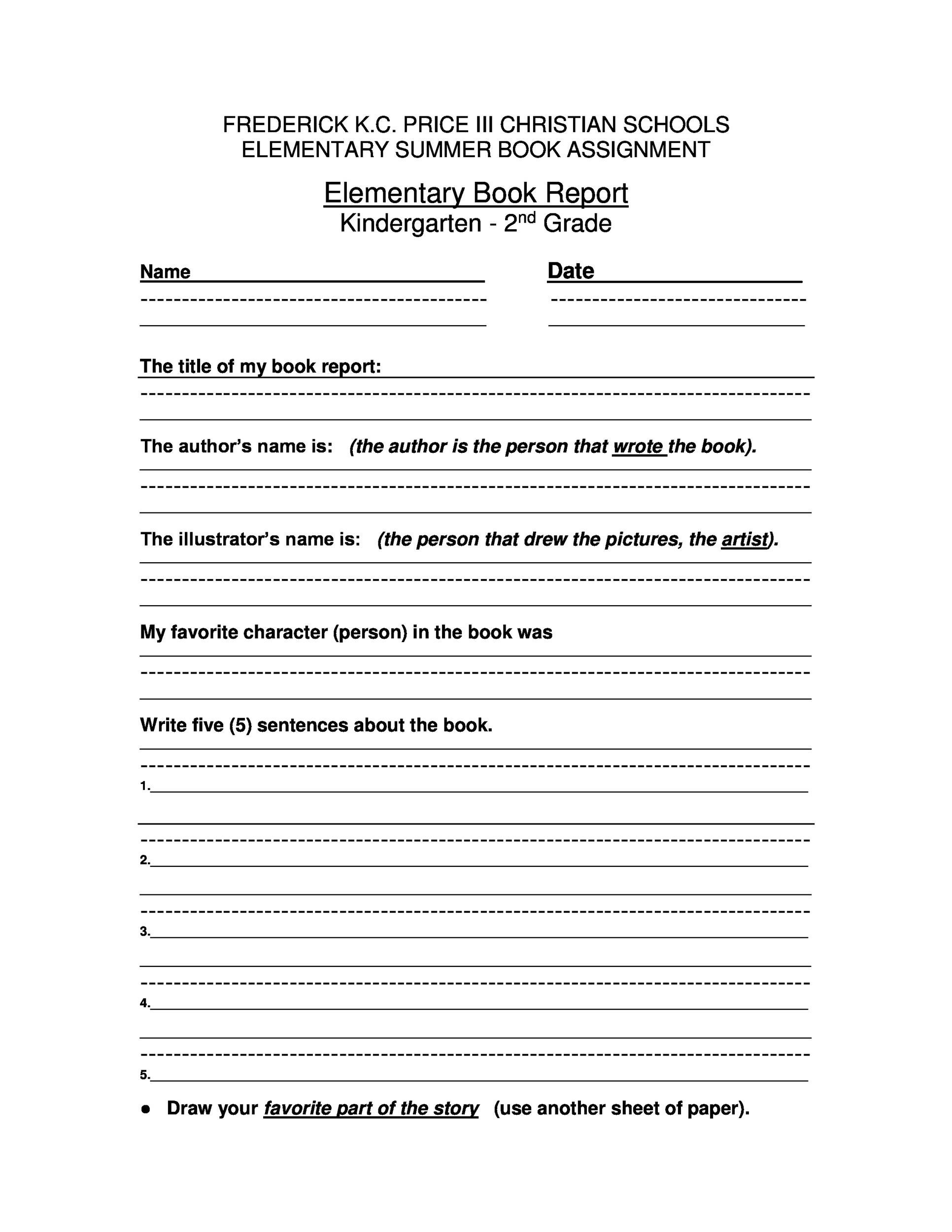 Samples of book report forms