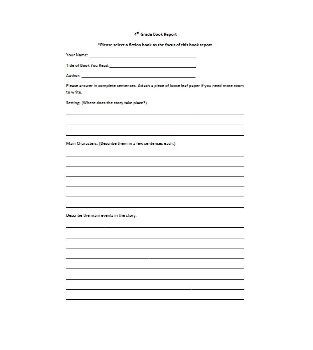 10th grade book report form