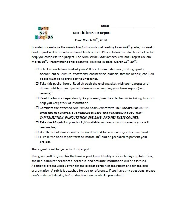 Writing a short report template – Book Report Template for High School
