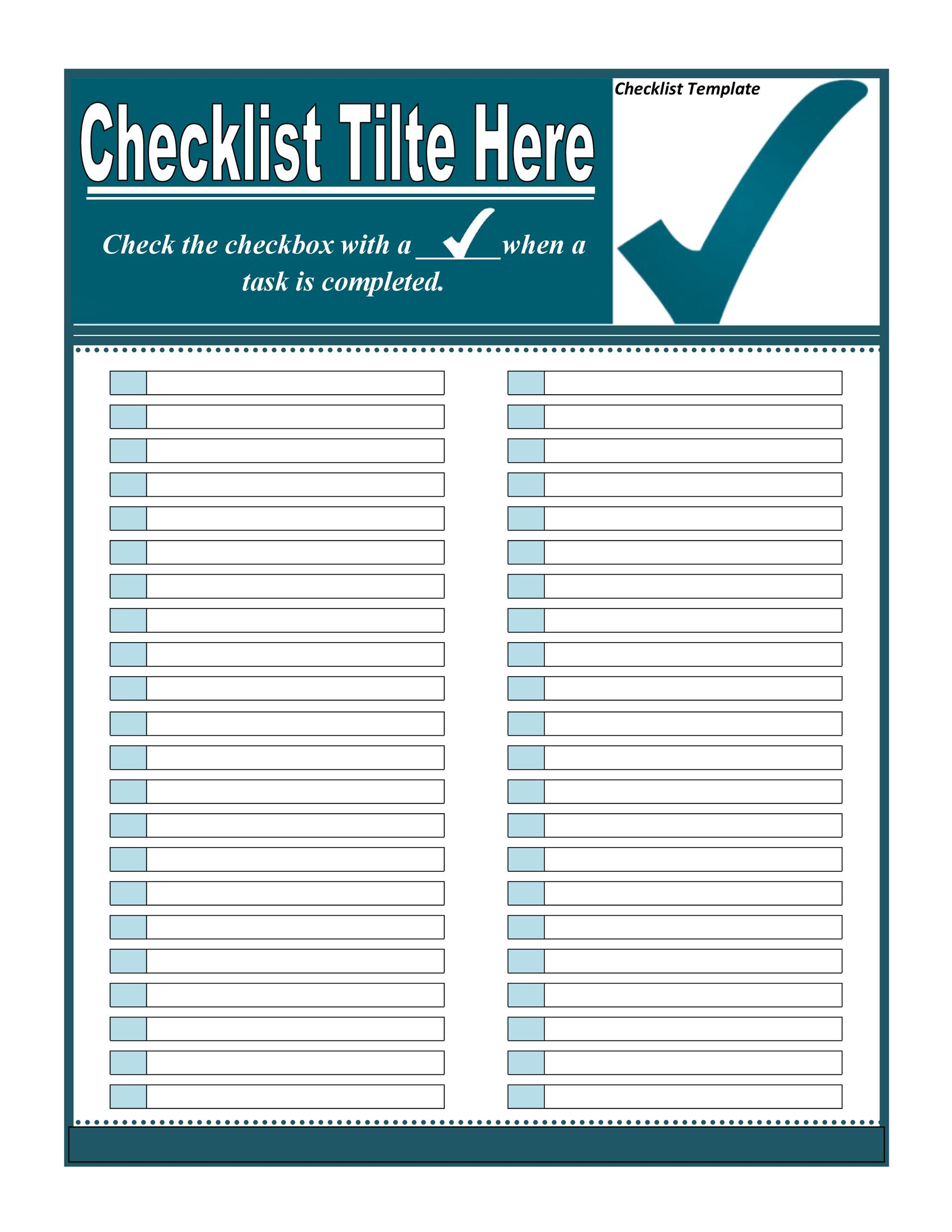 Captivating Printable Checklist Template 04 Throughout Download Checklist Template