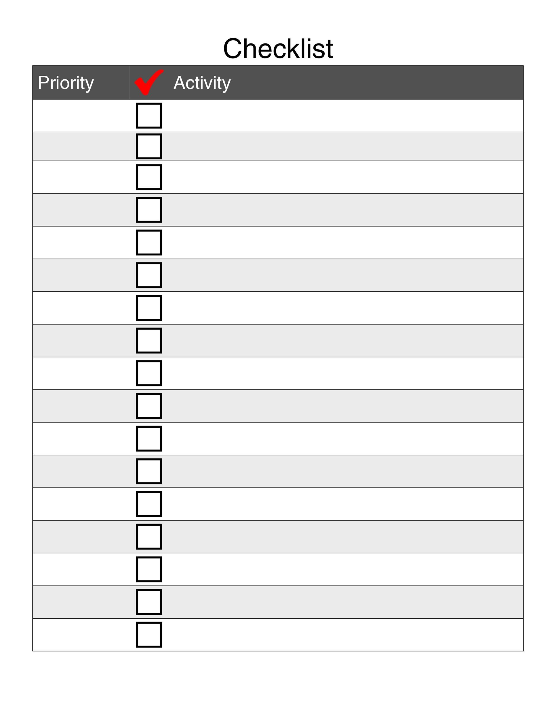 Printable Checklist Template 05  Daily Checklist Template Word
