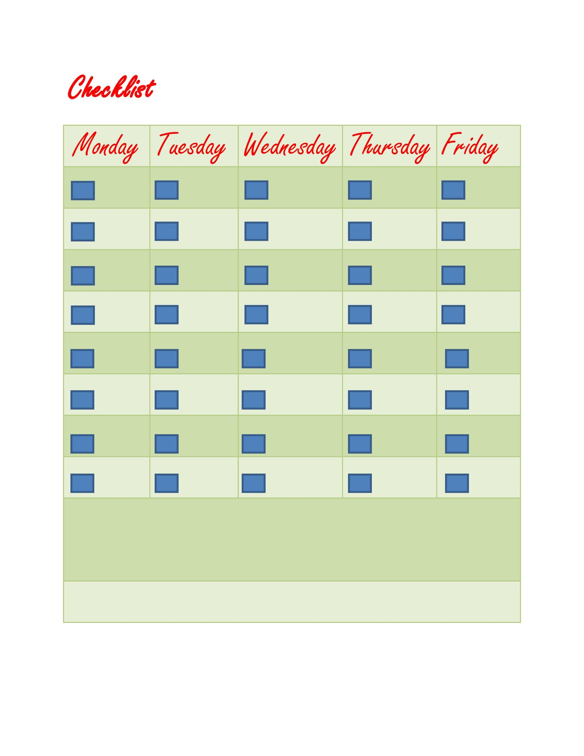 Free Checklist Template 08