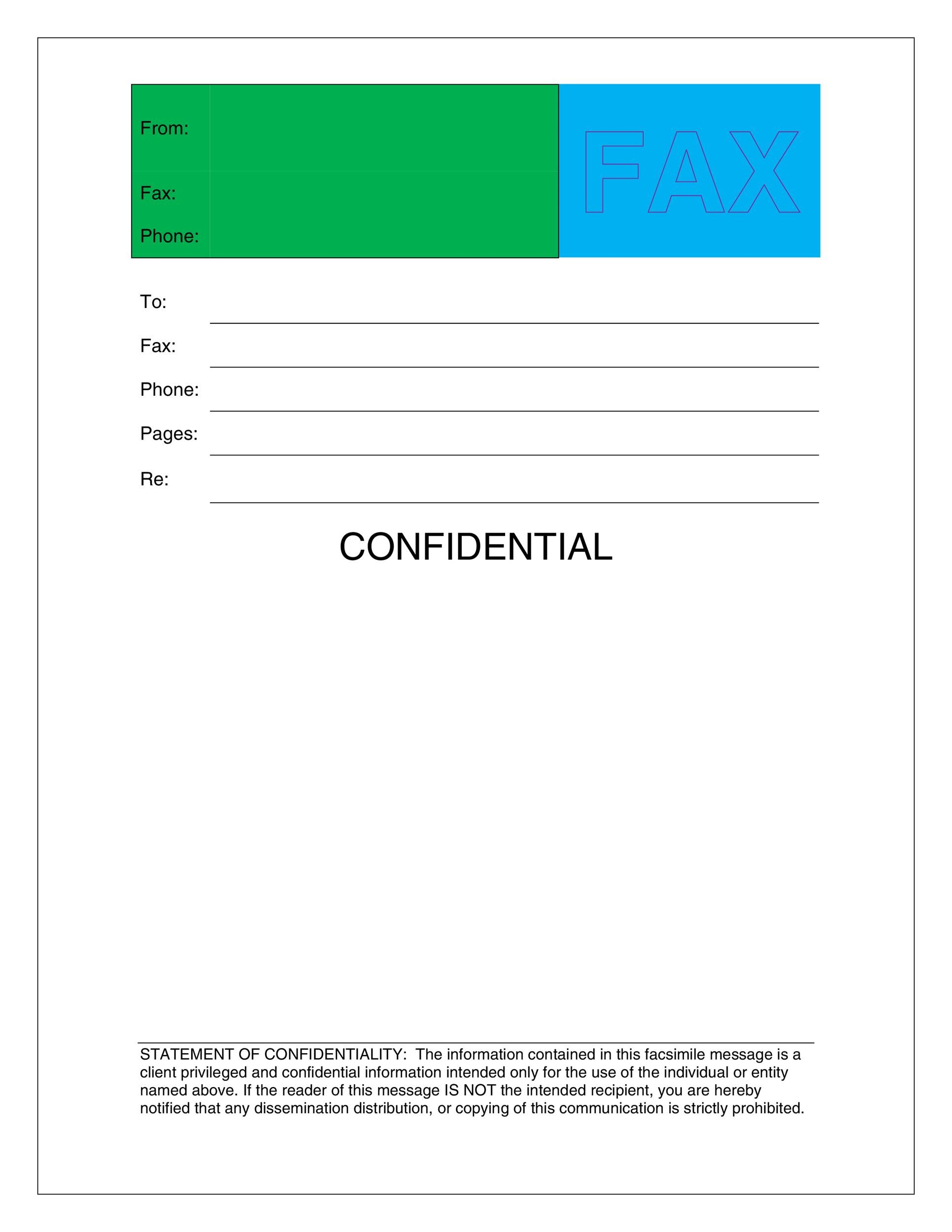 Printable Fax Cover Sheet Template 02  Blank Fax Cover Sheet Free
