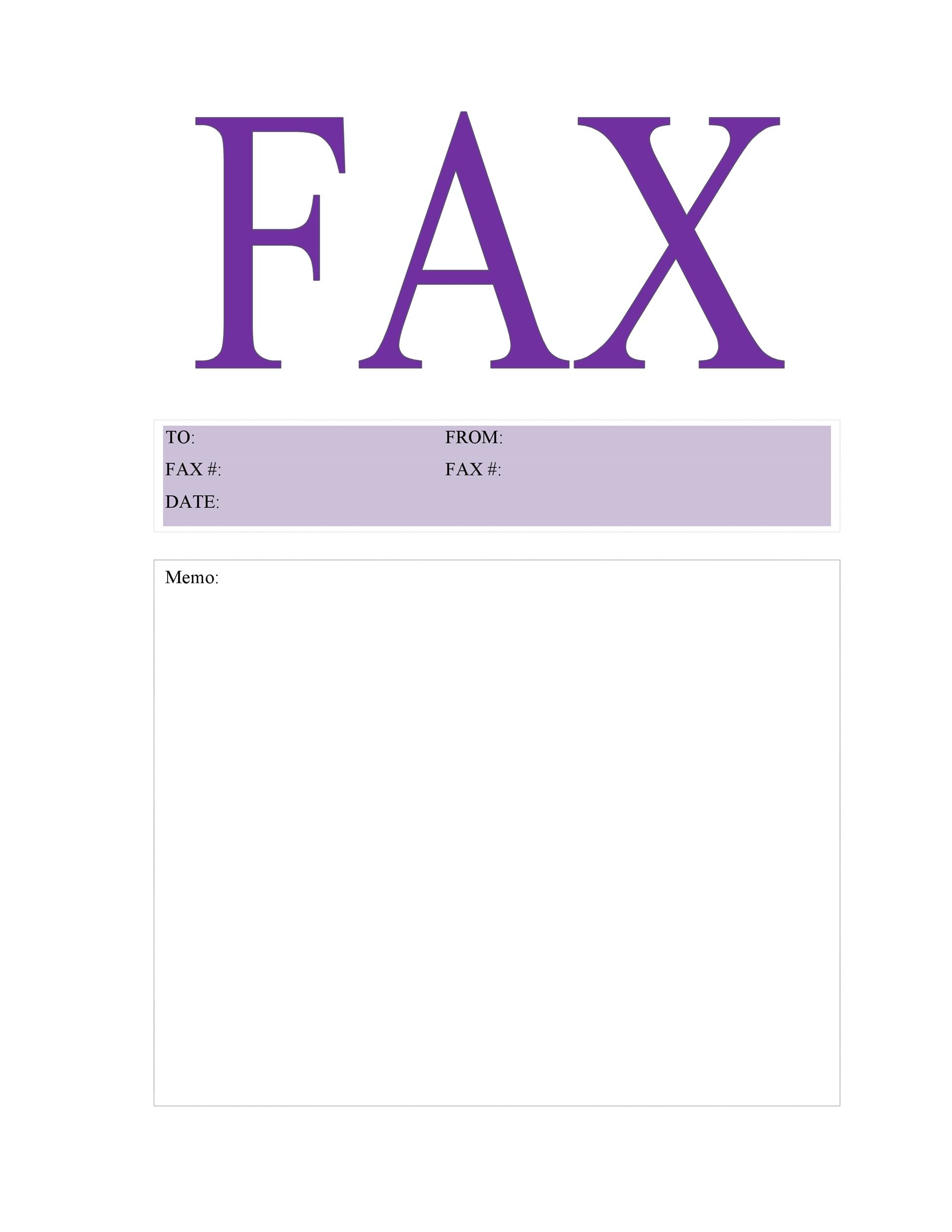 image relating to Printable Fax Cover Sheet Free called 40 Printable Fax Go over Sheet Templates ᐅ Template Lab