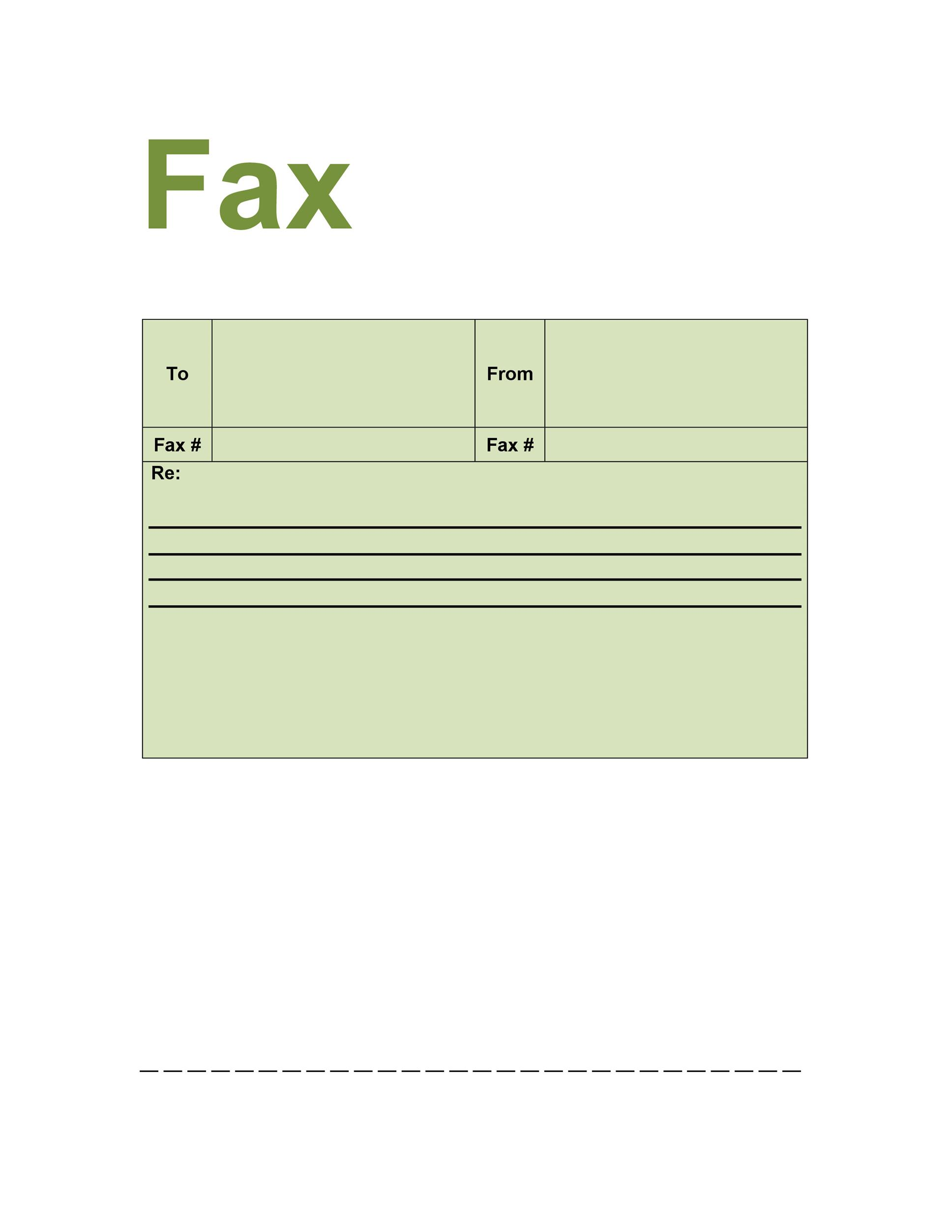 fax cover letter sample word