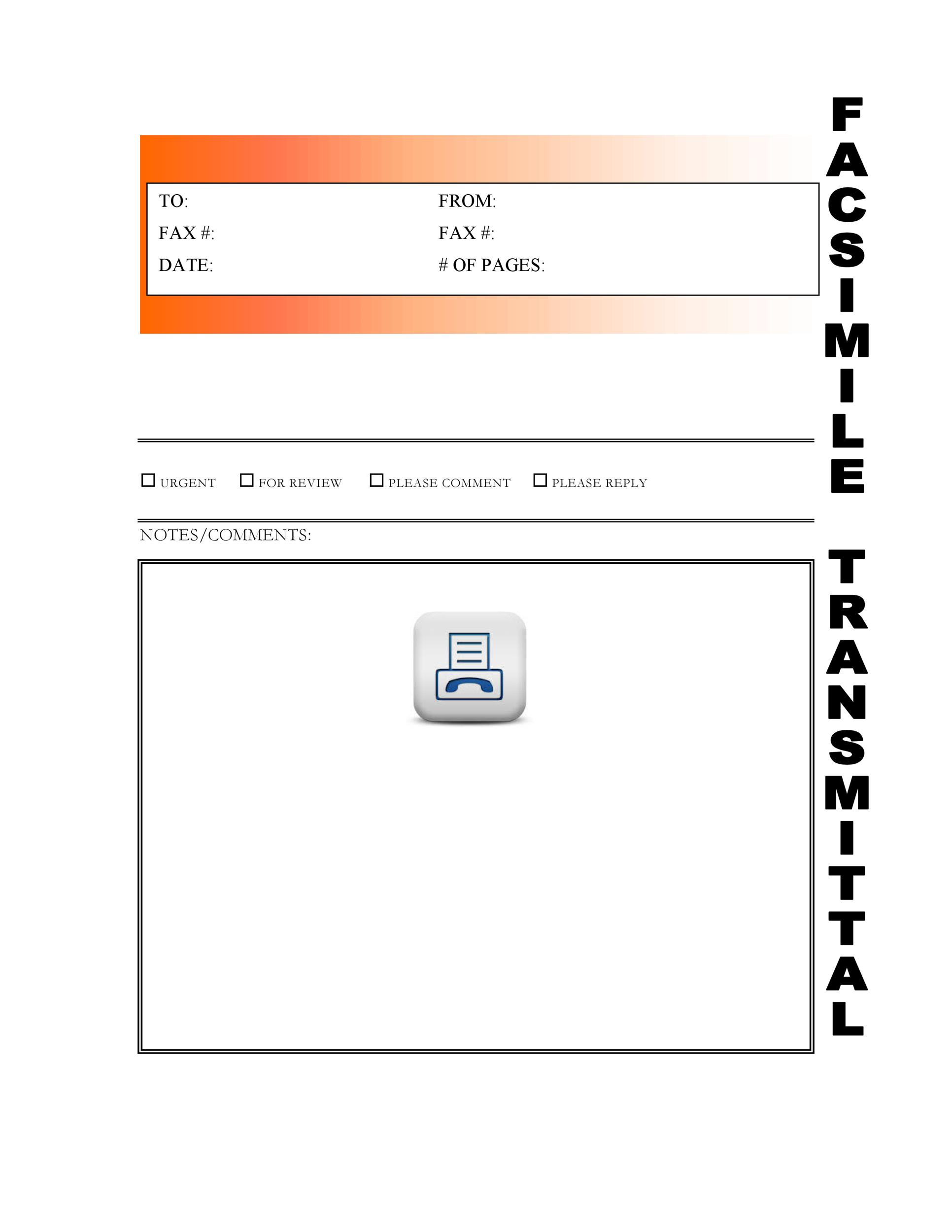 printable fax cover sheet template 33