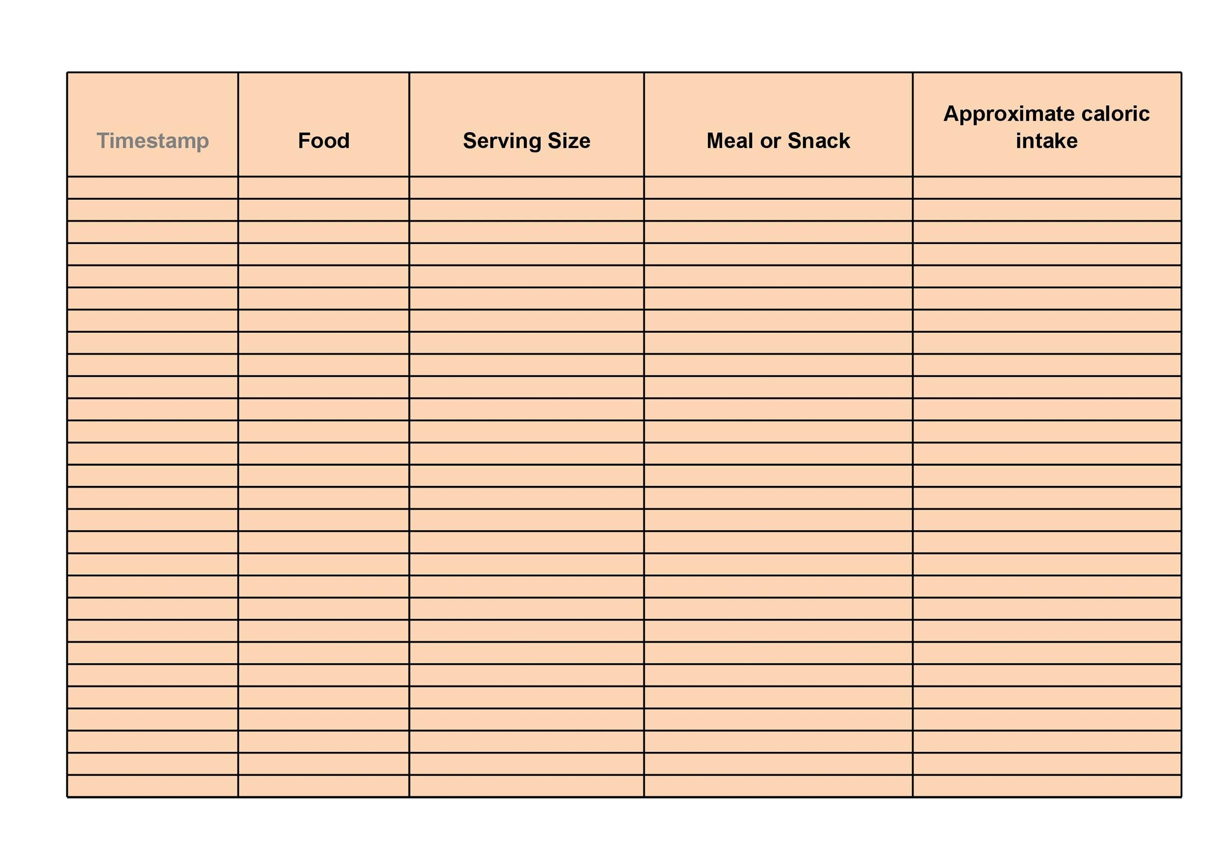 picture regarding Printable Food Logs named 40 Uncomplicated Foodstuff Diary Templates Food stuff Log Illustrations